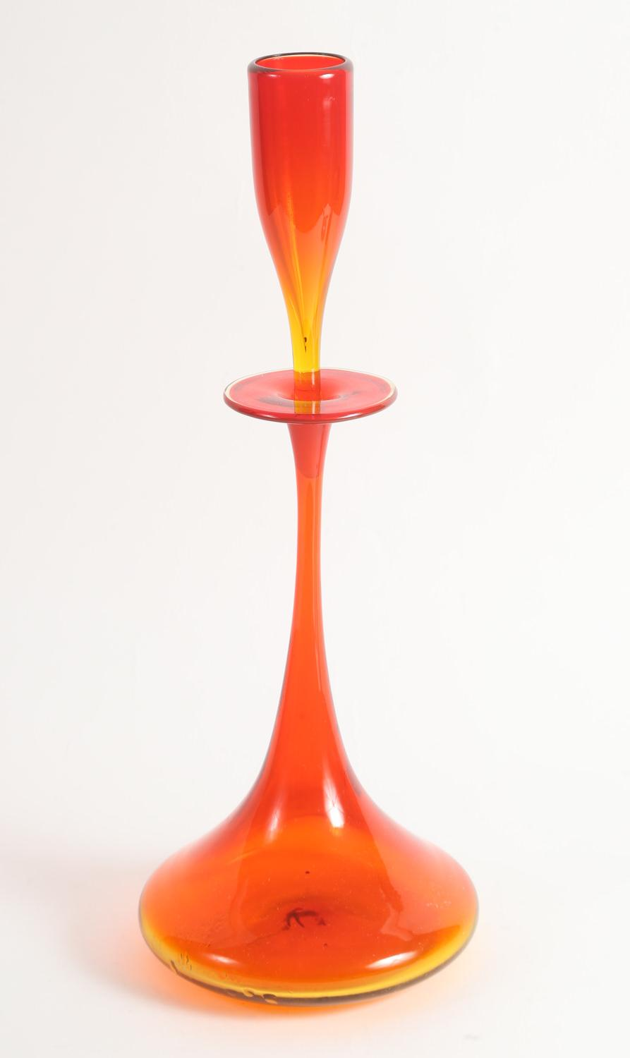 Red and Yellow Glass Decanter with a Shot Glass Stopper 20th Century,New York Auction House, Houston Auction, Dallas Auction, San Antonio,
