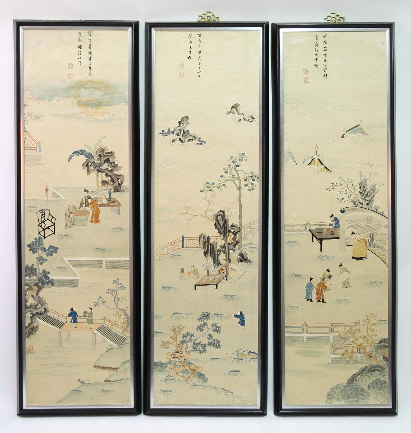 Three Chinese Embroidered and Painted Silk Panels Qing Dynasty Asian Art, New York Auction House, Houston Auction, Dallas Auction, San Antonio, Chinese Auciton, 中国艺术拍卖, 海外捡漏,缂丝