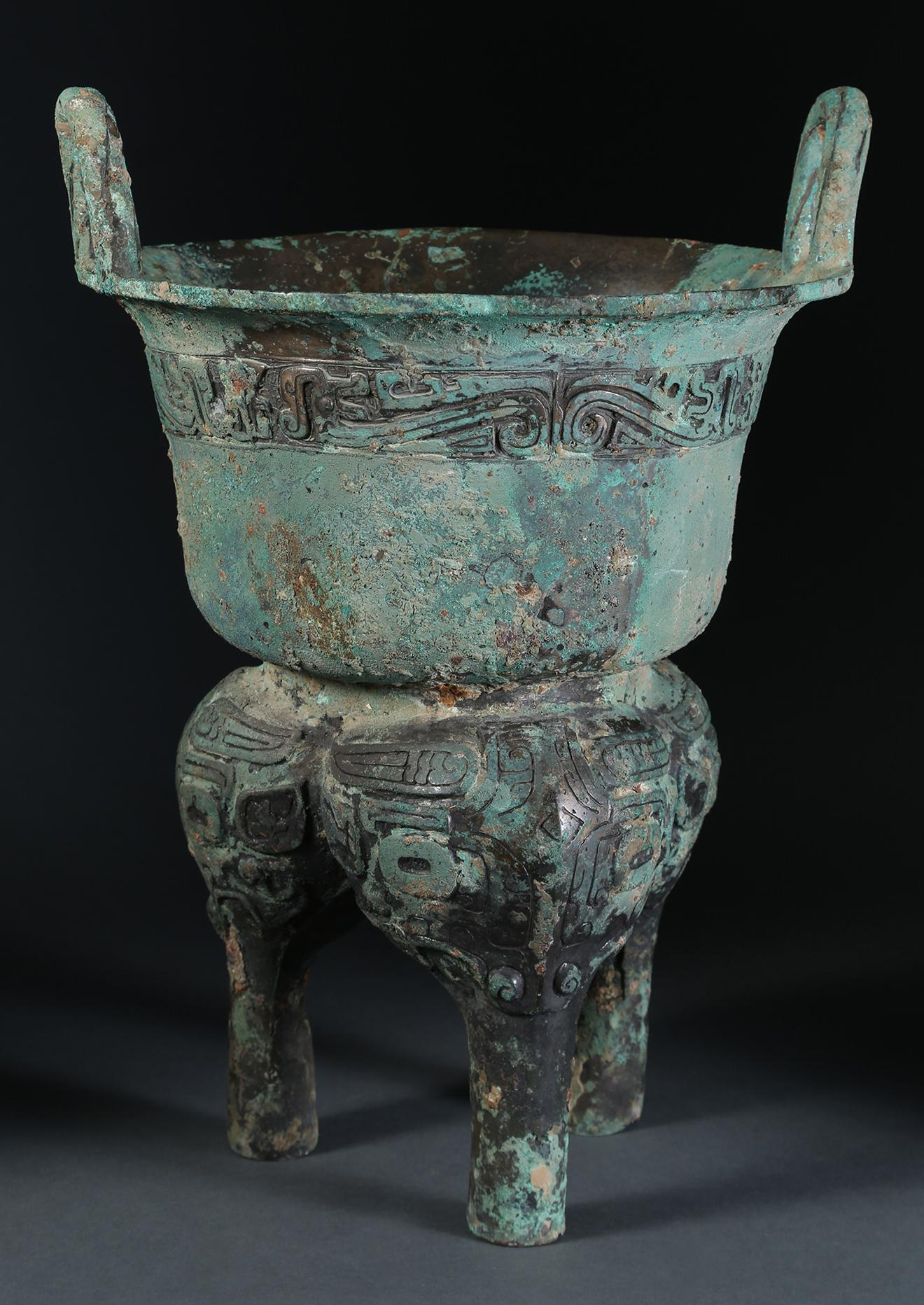 Asian Art Chinese Archaic Bronze Cooking Vessel Yan Western Zhou Dynasty, New York Auction House, Houston Auction, Dallas Auction, San Antonio Auction, Chinese Auciton, 中国艺术拍卖,  青铜, 甗