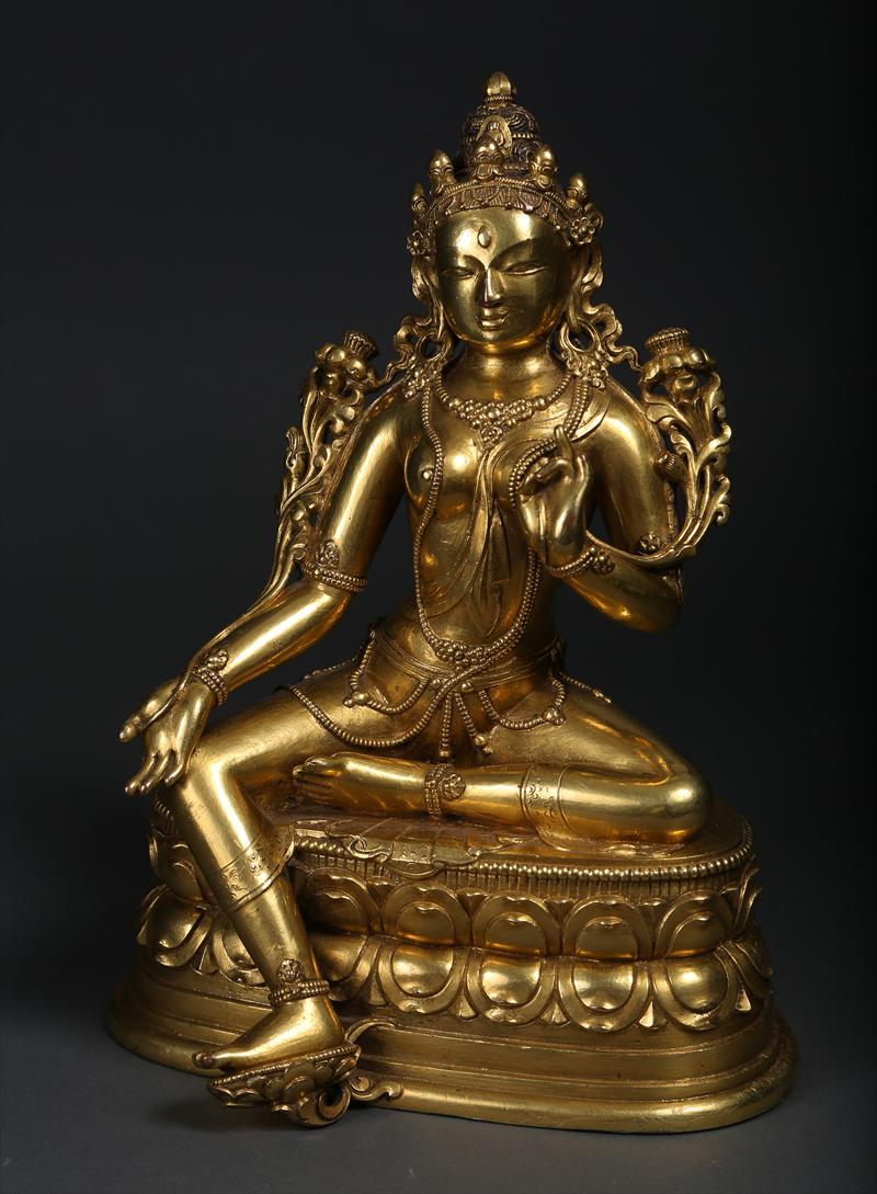Asian Art Mongolian Gilt Bronze Seated Figure Tara 17th/18th Century Buddhism New York Auction House, Houston Auction, Dallas Auction, San Antonio Auction,chinese auction, 海外捡漏, 中国艺术拍卖, 铜鎏佛像,多罗菩萨, 坐佛