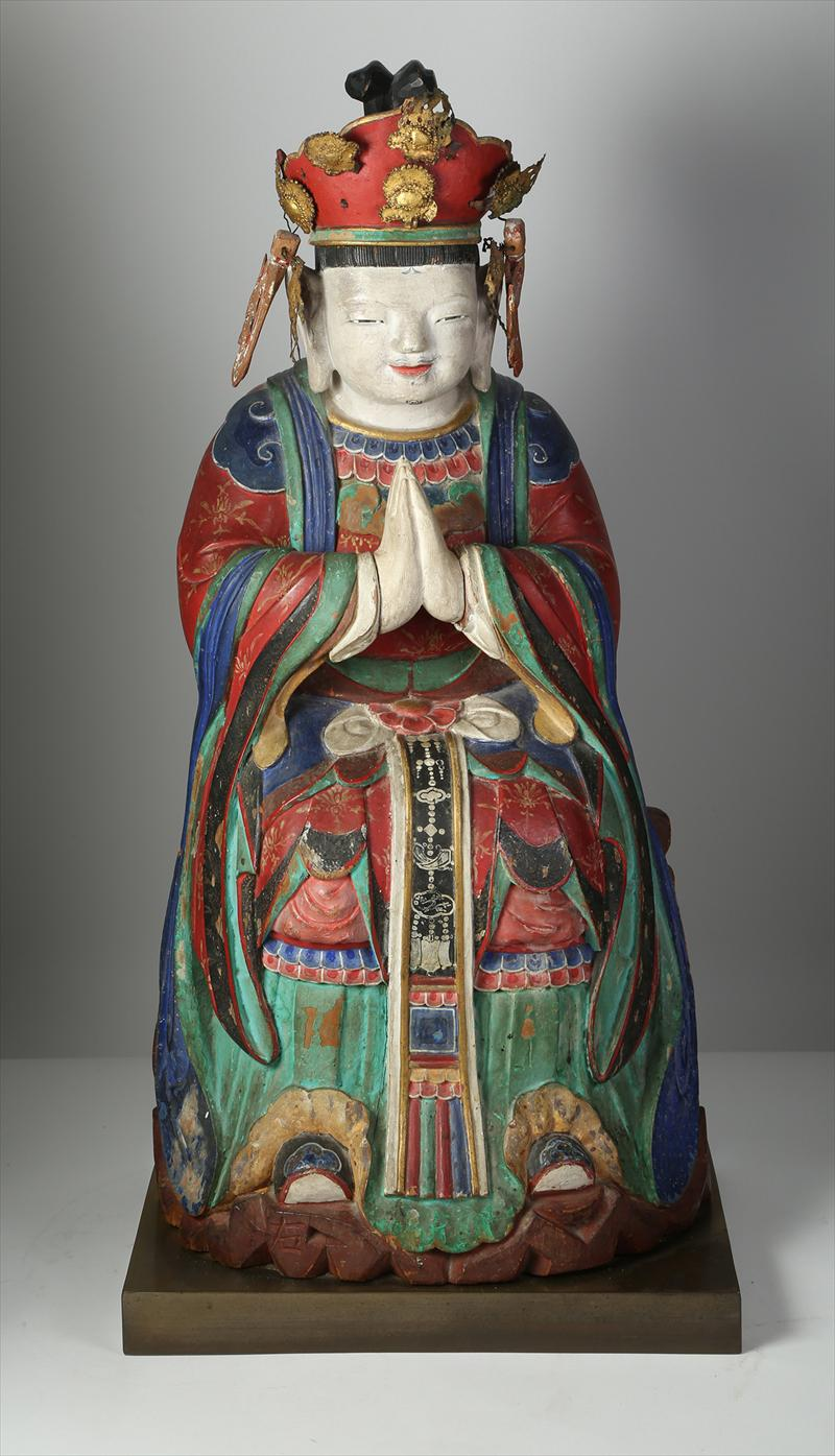 Korean Polychrome and Wood Seated Figure of Buddha 19th Century Asian Korean Art New York Auction House, Houston Auction, Dallas Auction, San Antonio Auction, Korean Auction, 석가모니불 입상, 한국의 미술, 경매