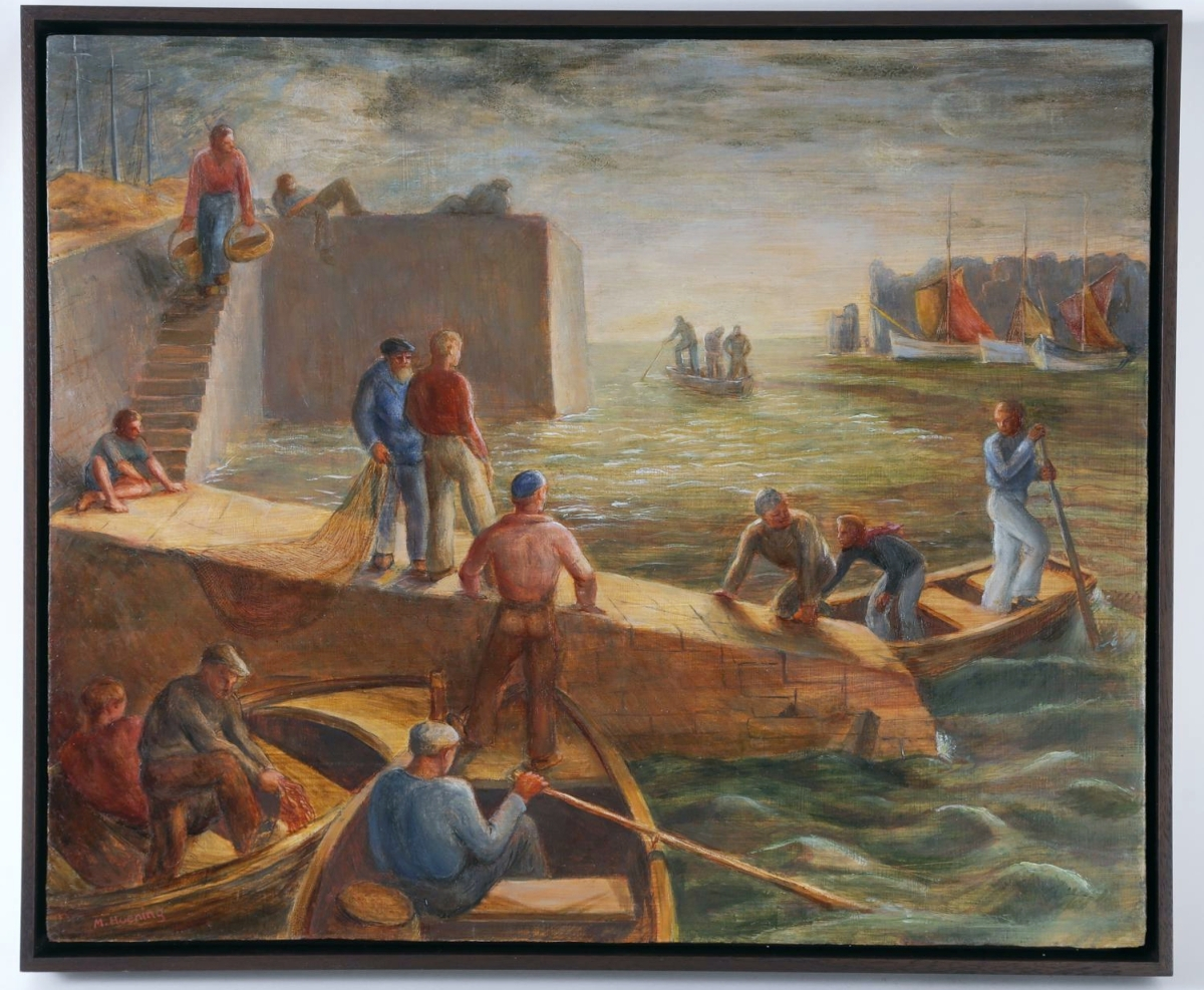"""Margaret Hoening French's top lot was an egg tempera on board titled """"Workers At Harbor."""" It measures 15¼ by 18½ inches and closed at $24,375 on a $6,000 estimate. Within the sale was the same image in an etching, which closed at a more affordable $250."""
