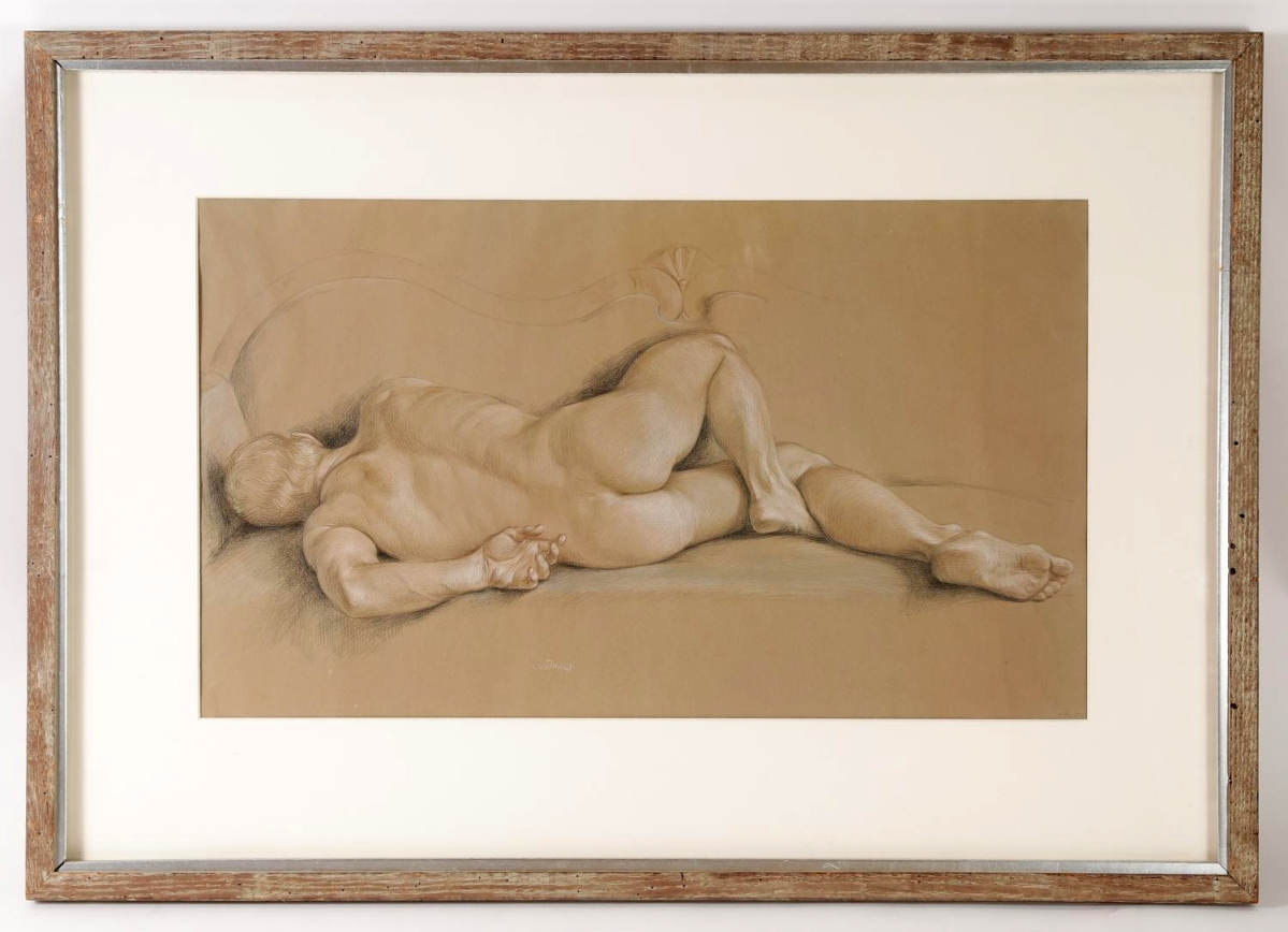 Fetching $41,250 was this reclining male nude in crayon on hand-toned paper by Paul Cadmus, 14½ by 25 inches. The work had extensive exhibition history, having been shown at three museums and two shows at DC Moore Gallery in New York City.
