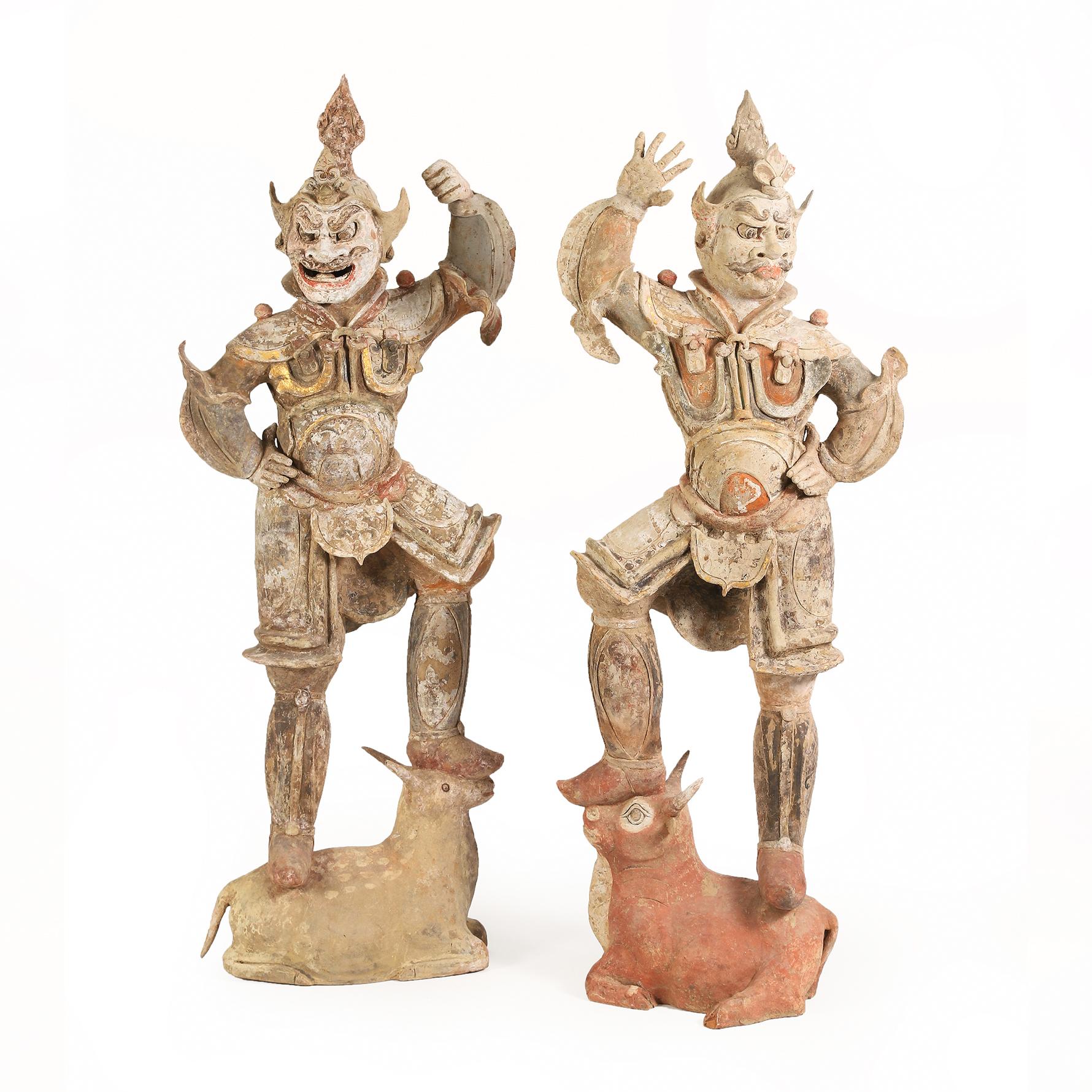 Pair of Chinese Painted Pottery Lokapala, Tang Dynasty