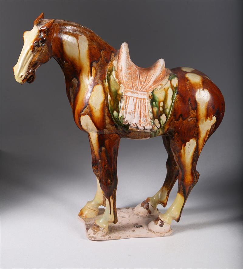 Chinese Sancai Glazed Figure of a Horse, Tang Dynasty