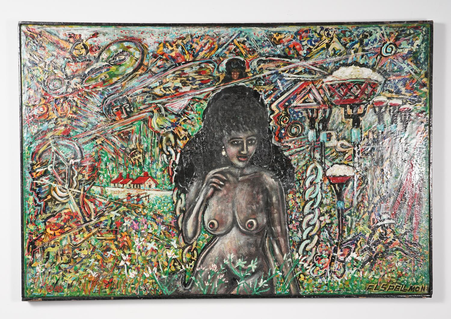 Doc Spellmon (American 1925-2008,) Removed fromAfrica - Portrait of Yvette, Mixed Media, Available on iGavel Auctions until February 18, 2021