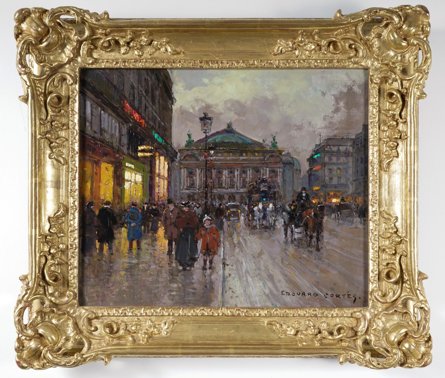 Edouard-Leon Cortes (French 1882-1969,) Place de la Opera, Oil on Canvas, ca. 1950