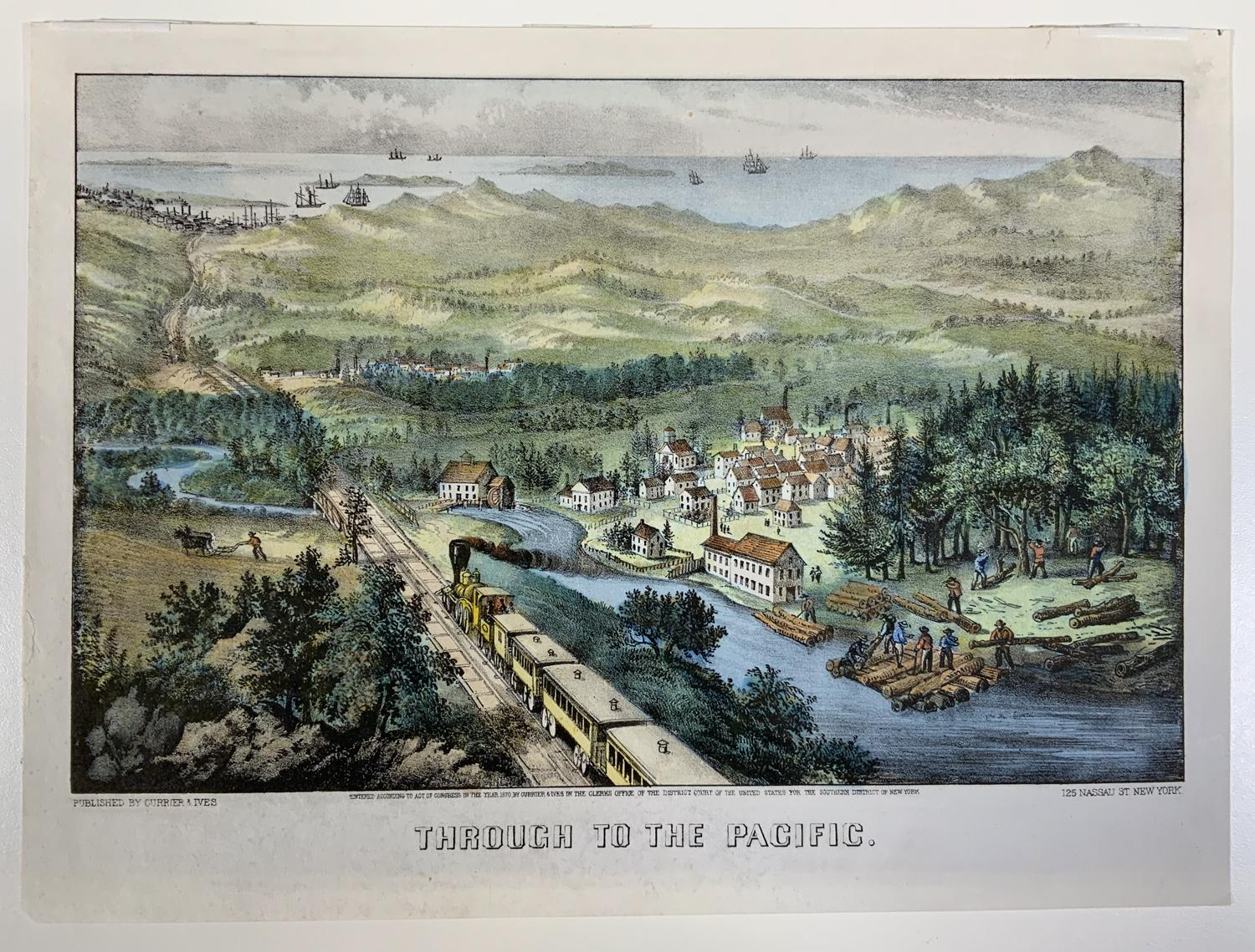 Currier and Ives (Publisher): Through to the Pacific, Hand Colored Lithograph, 1870