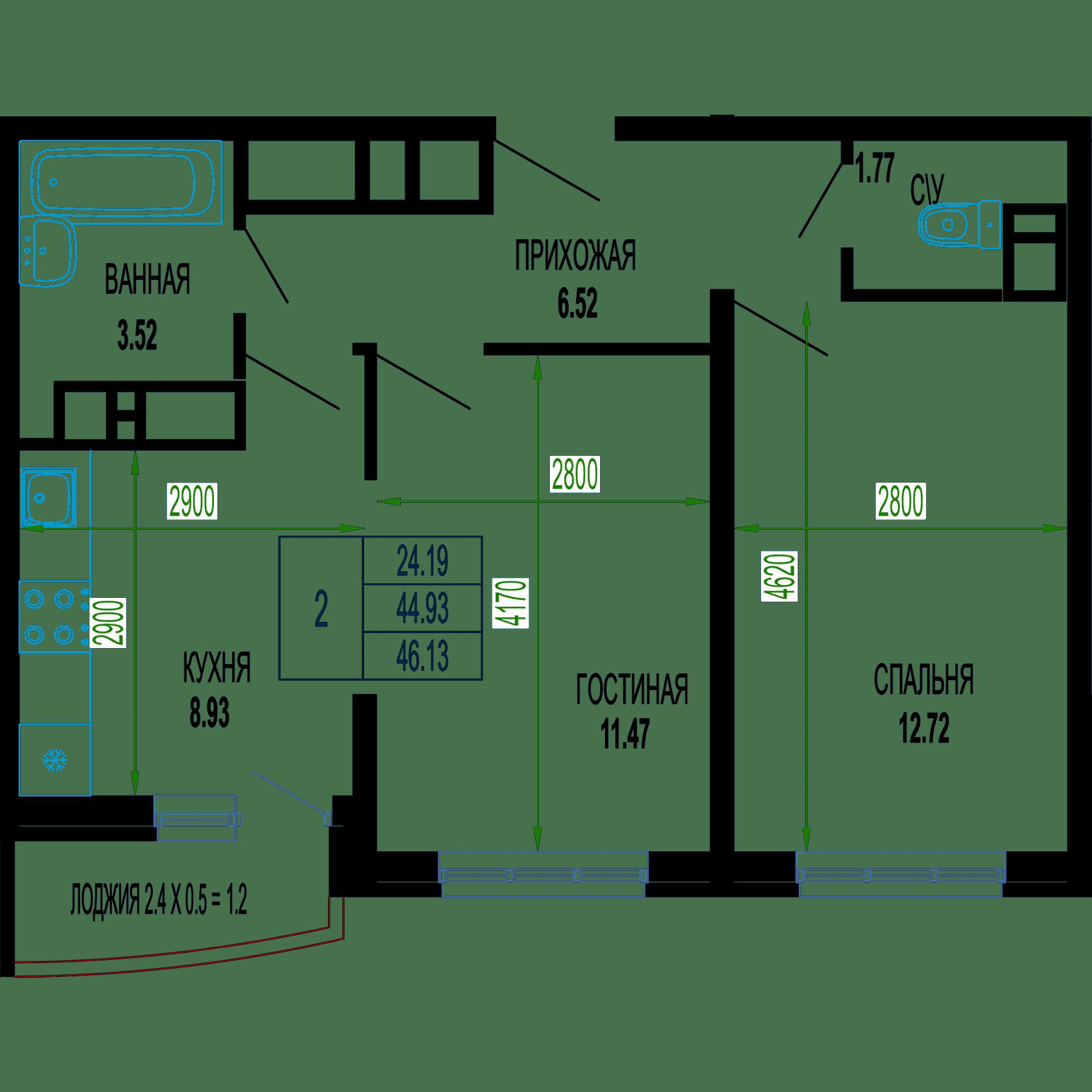 Двухкомнатная квартира в ЖК Лучший 46.13 м2