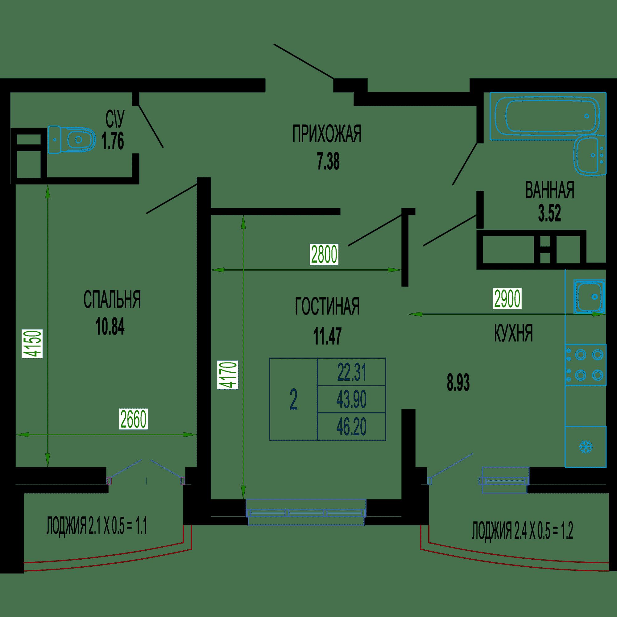 Двухкомнатная квартира в ЖК Лучший 46.20 м2