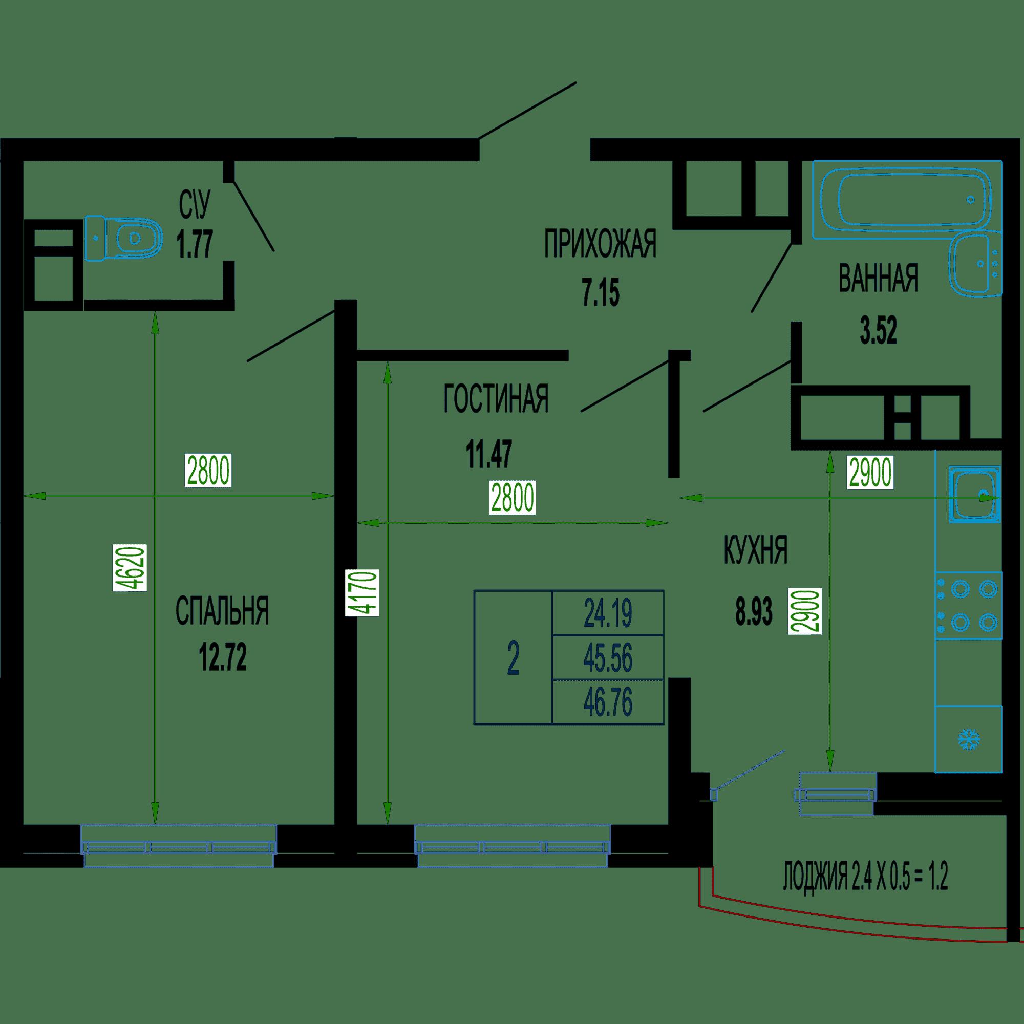 Двухкомнатная квартира в ЖК Лучший 46.76 м2