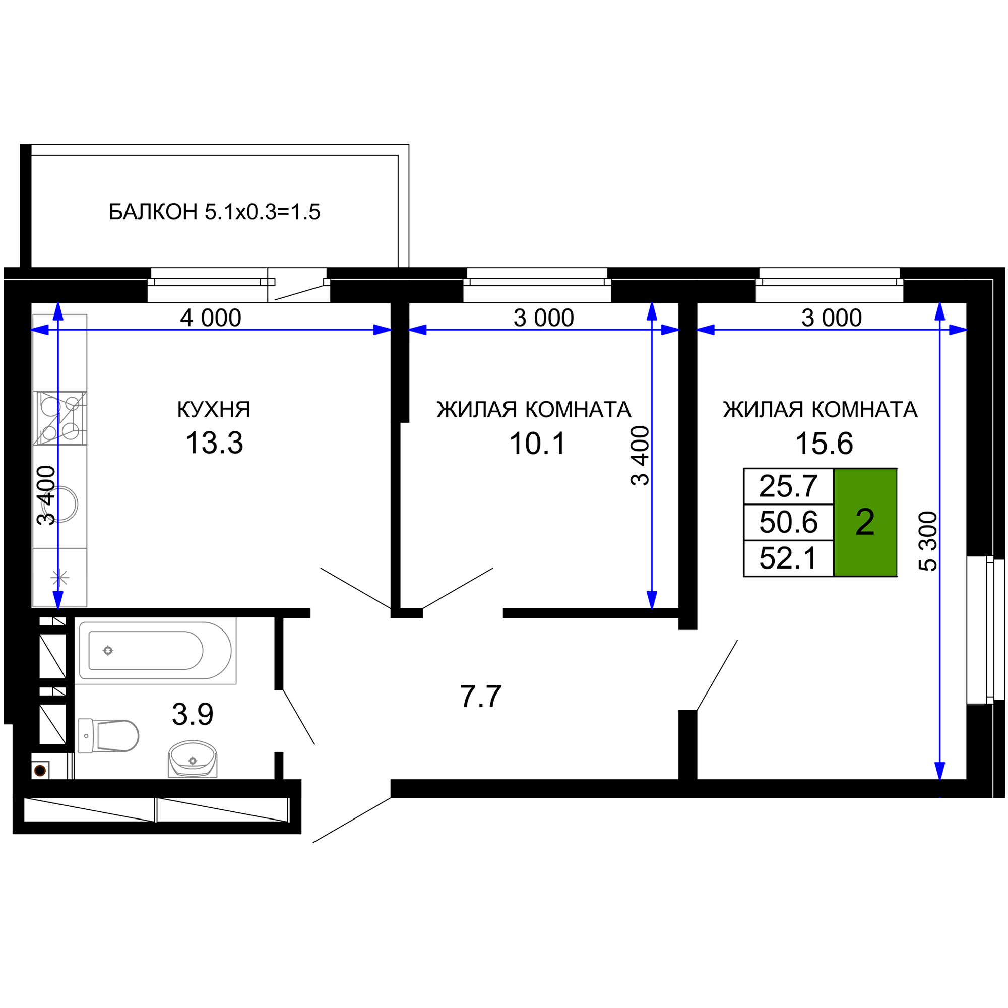 Двухкомнатная квартира в ЖК Дыхание 52.1 м2