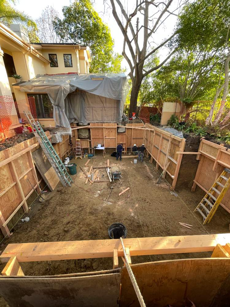 Shoring wall construction continues