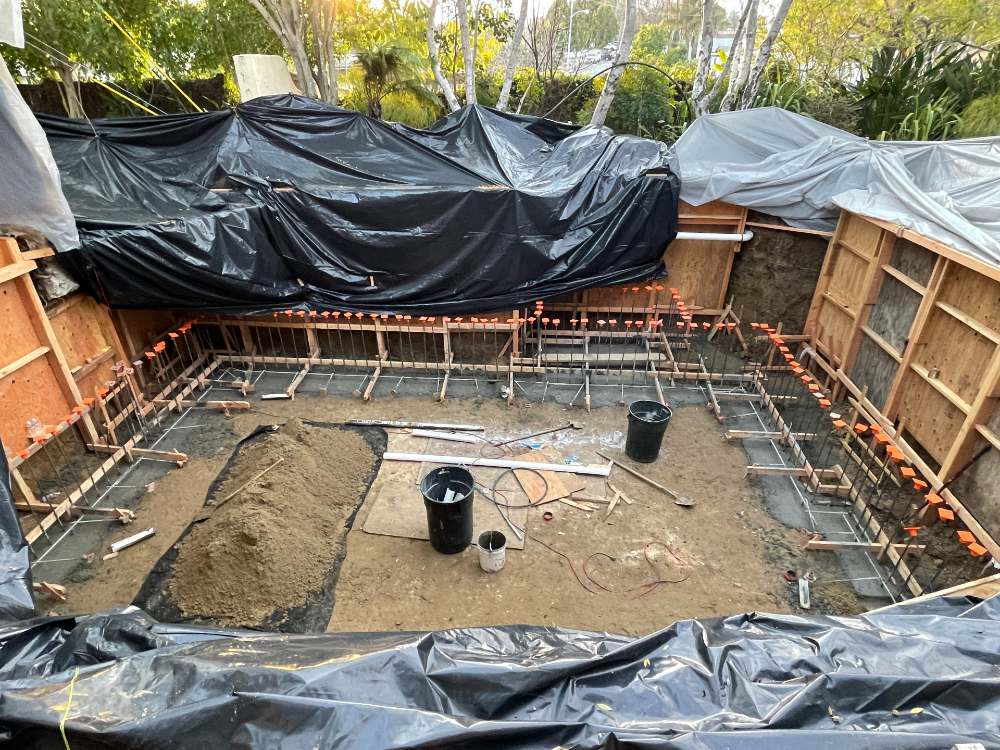 Concrete poured for footings