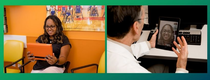 A patient and her doctor discuss care virtually via tablet.