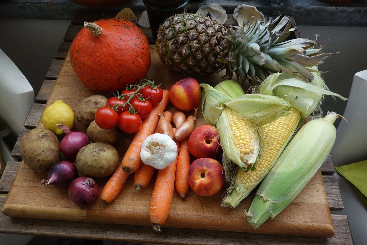 Fruit and vegetables on a board