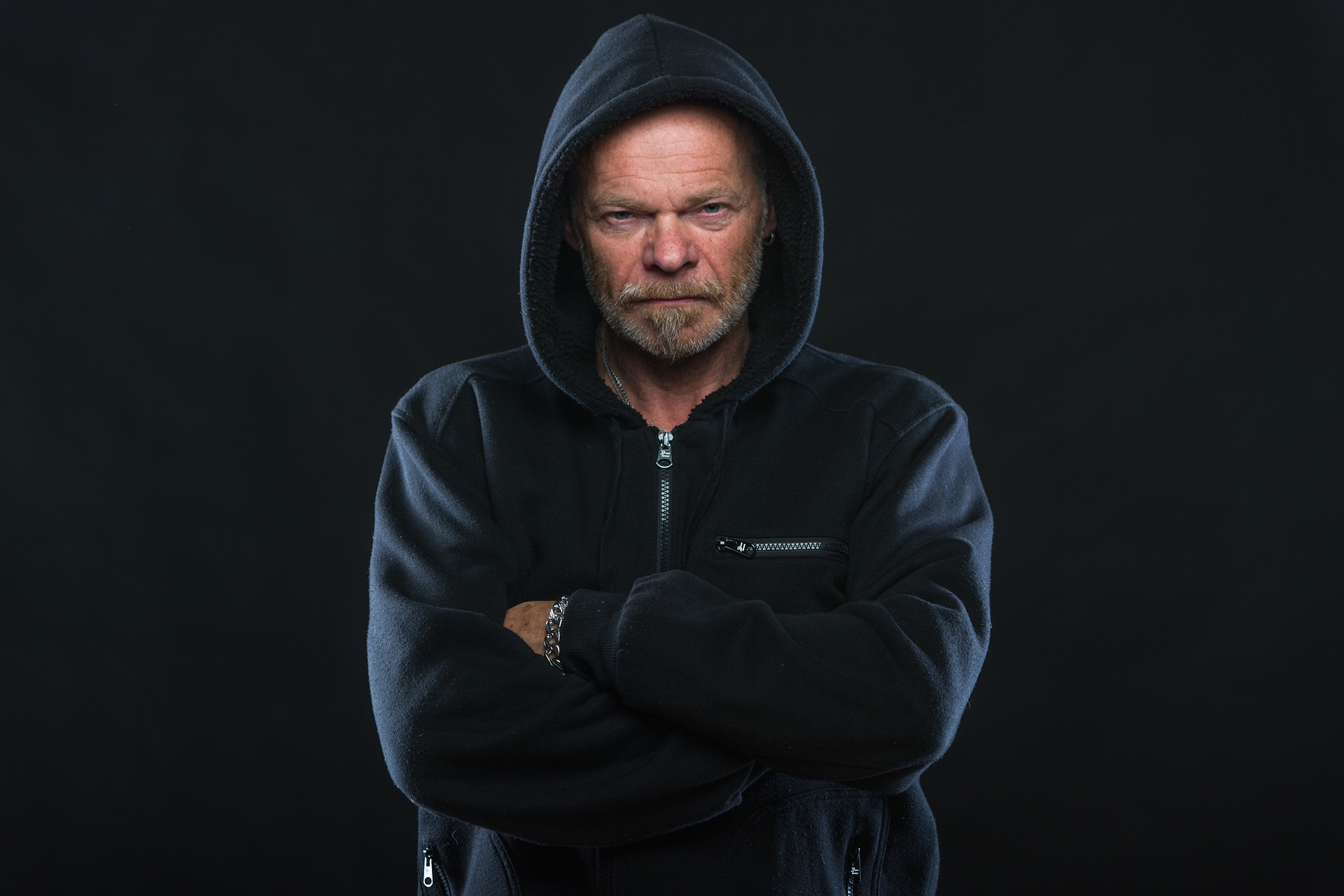 Angry man in a hoodie