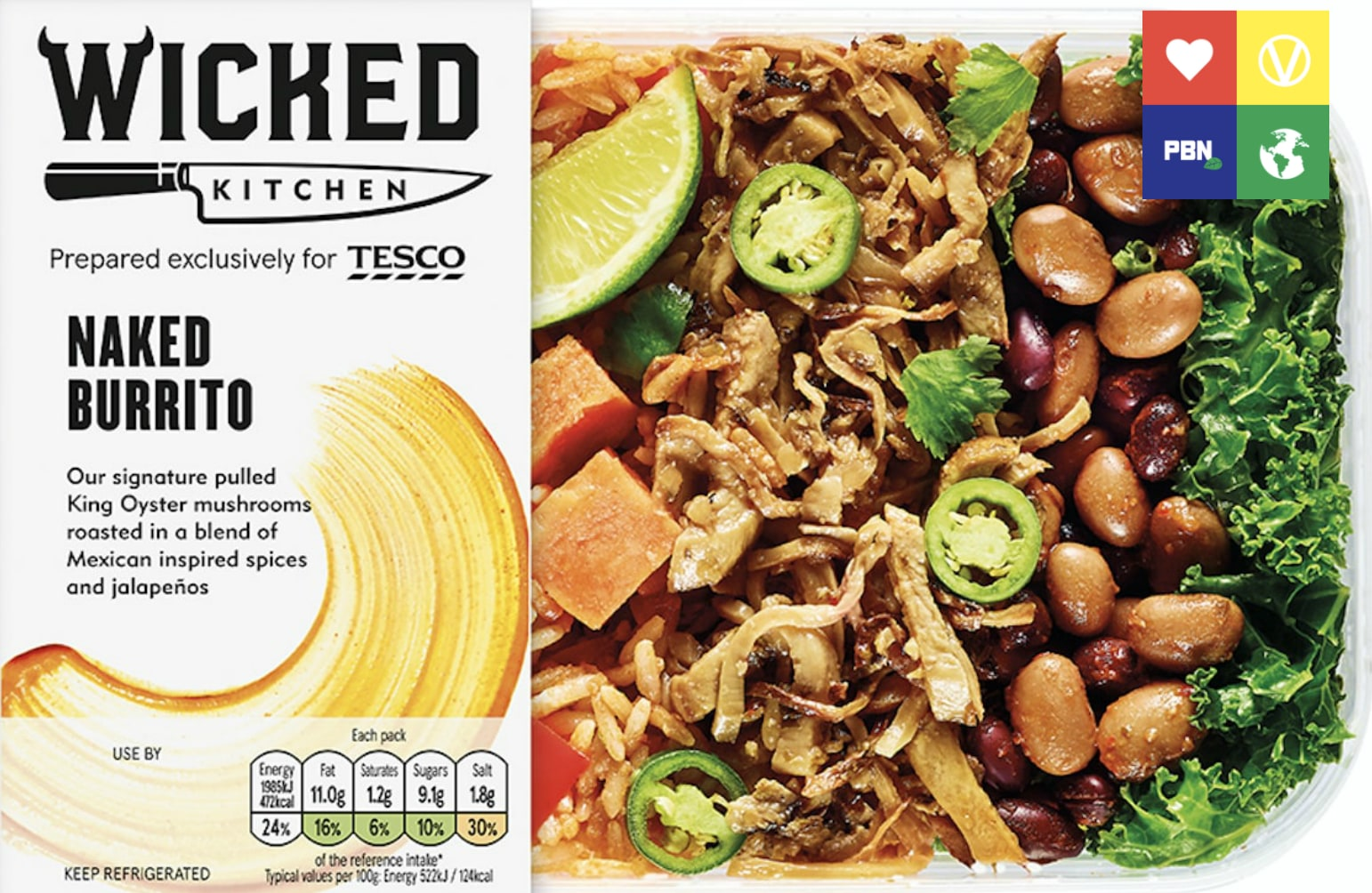 Tesco vegan Wicked Healthy Naked Burrito