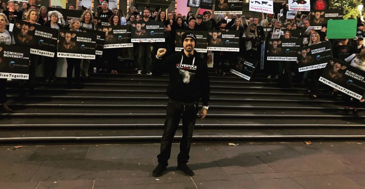 Joey Carbstrong at Dominion animal Rights March