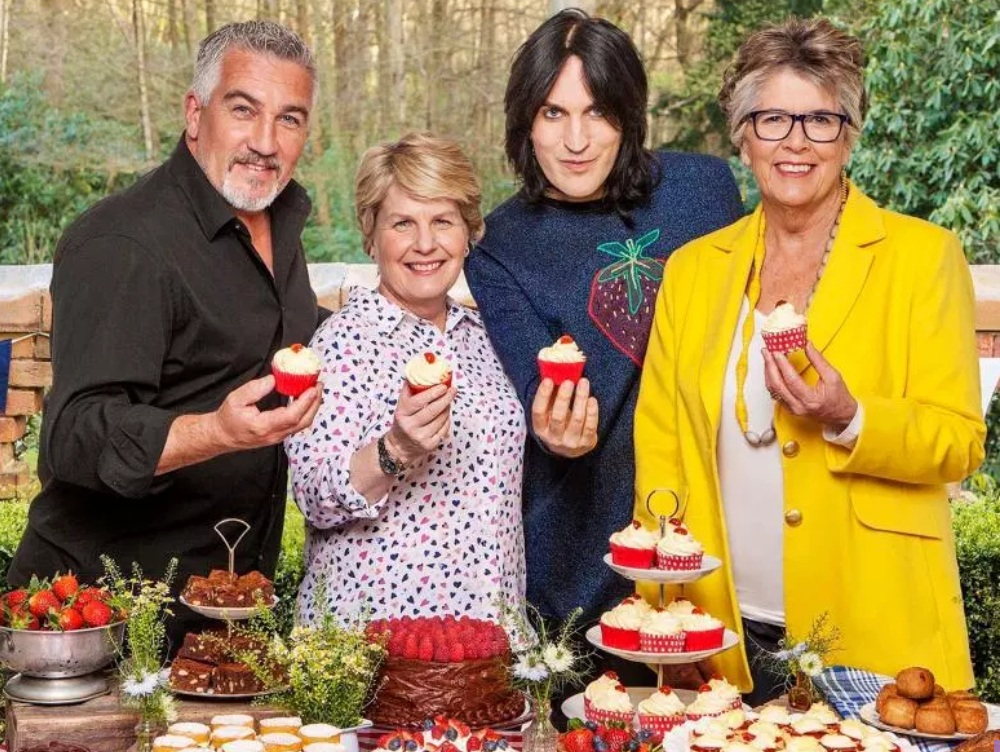 Sandi Toksvig, Noel Fielding and Prue Leith hosts of The Great British Bake Off