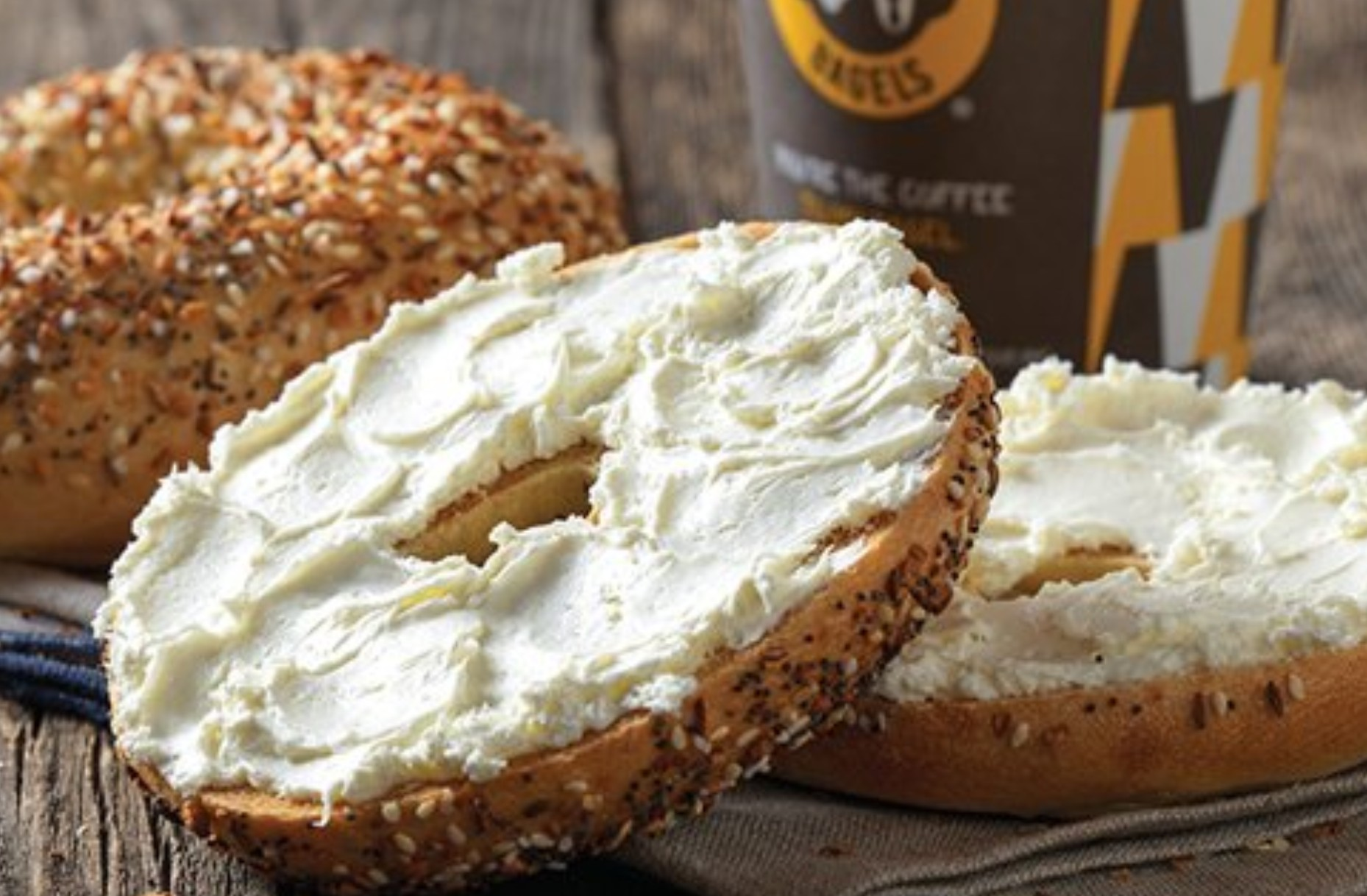A bagel with cream cheese