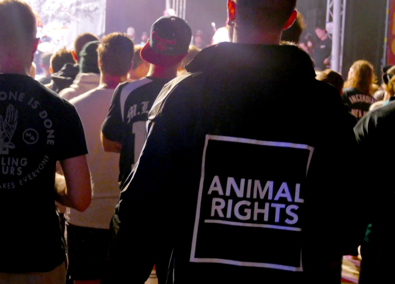 An animal rights advocate at Ieperfest 2018