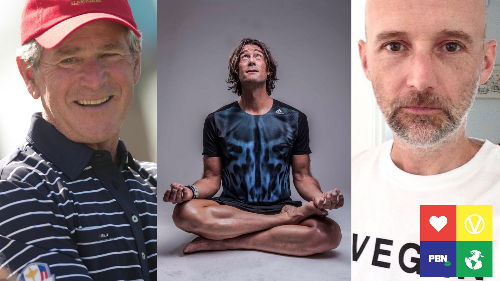 Former US President George Bush, vegan athlete Rich Roll and musician Moby