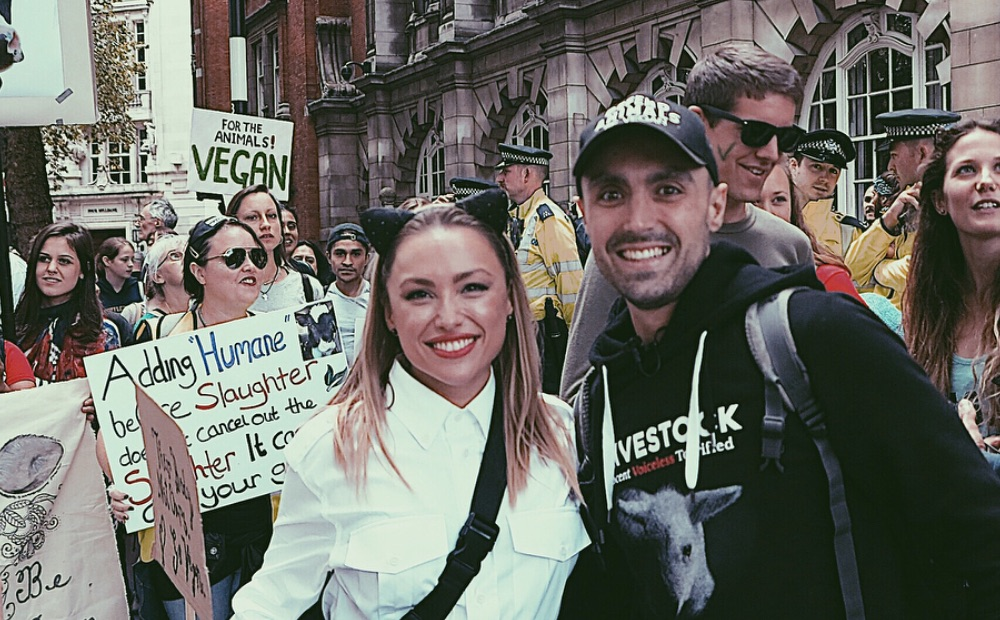 Kay Lovelle with vegan activist Joey Carbstrong