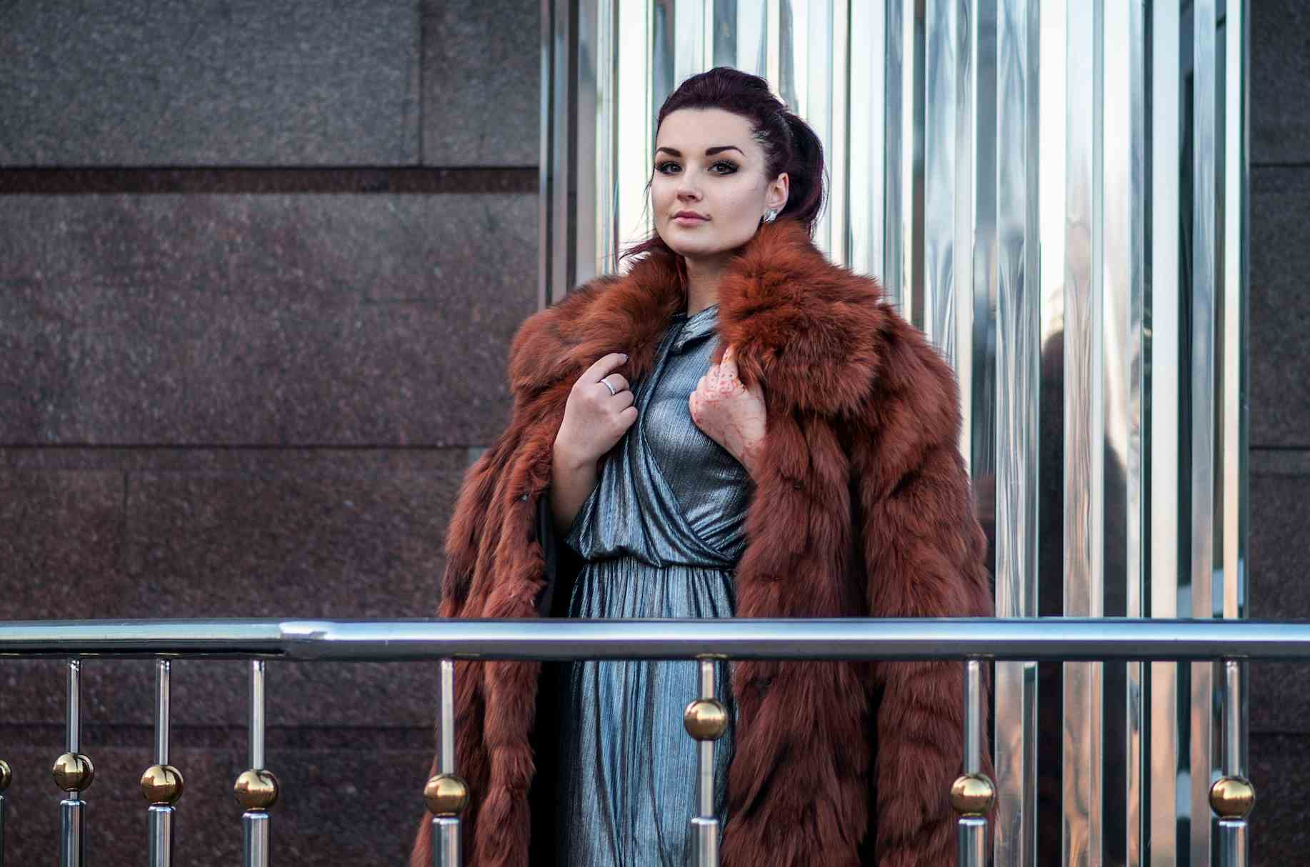 woman in a fur coat