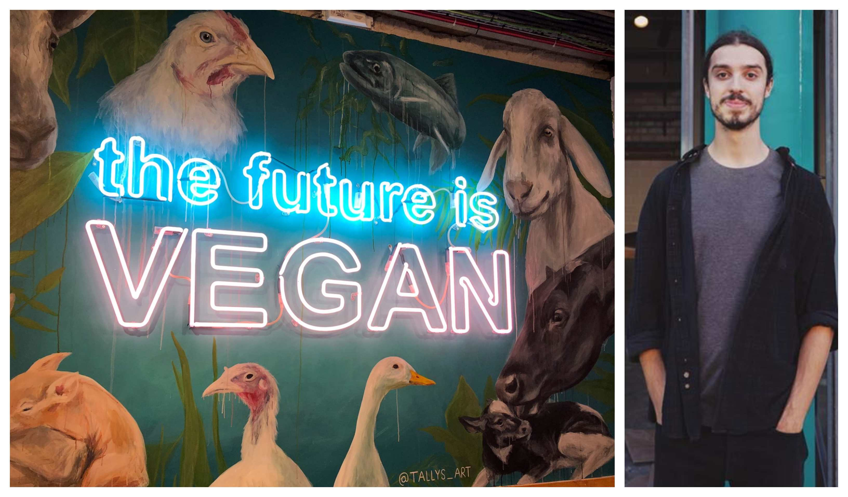 The future is vegan mural in Earthling's Ed's Unity diner