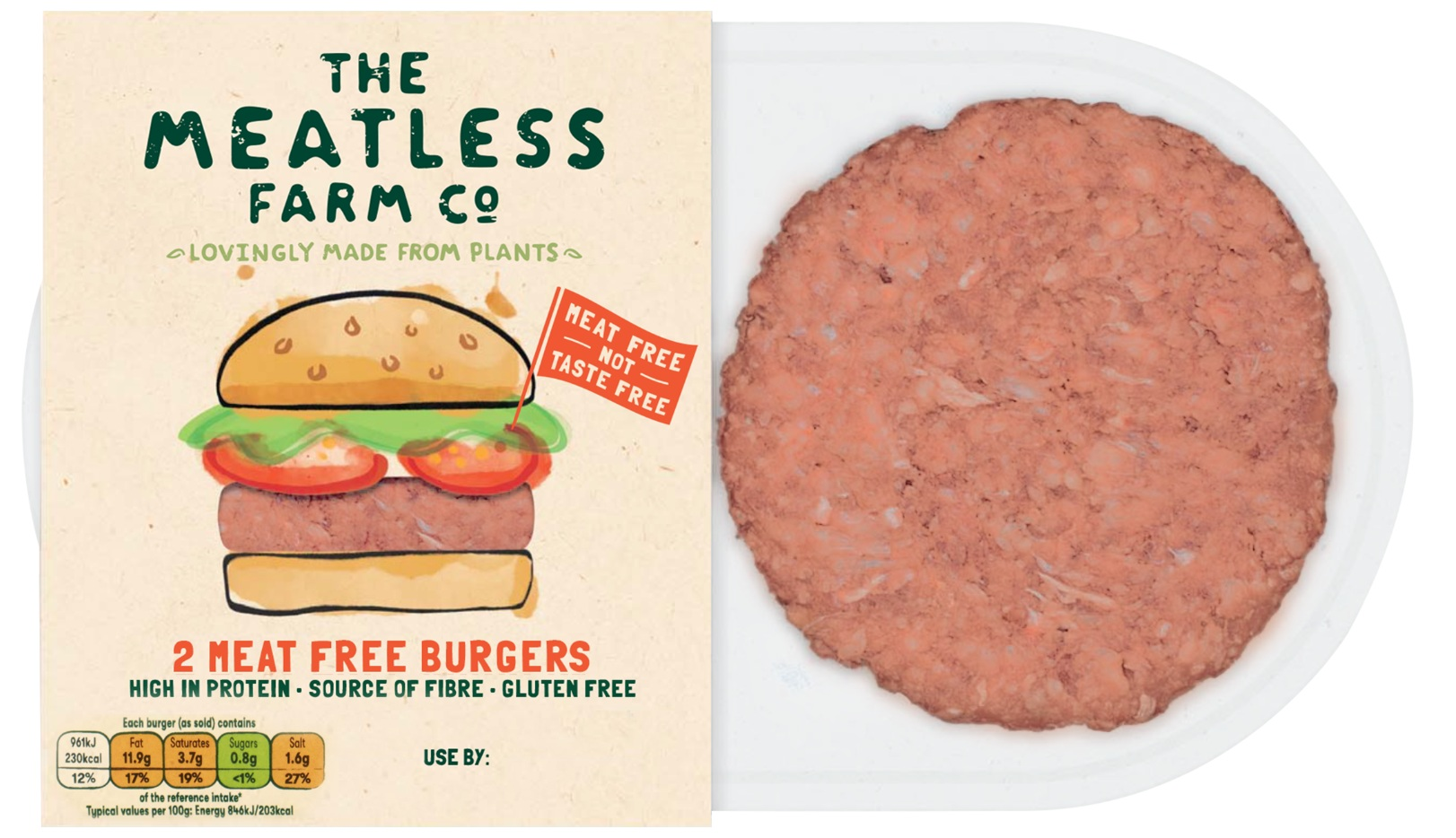 Vegan burgers from The Meatless Farm Co
