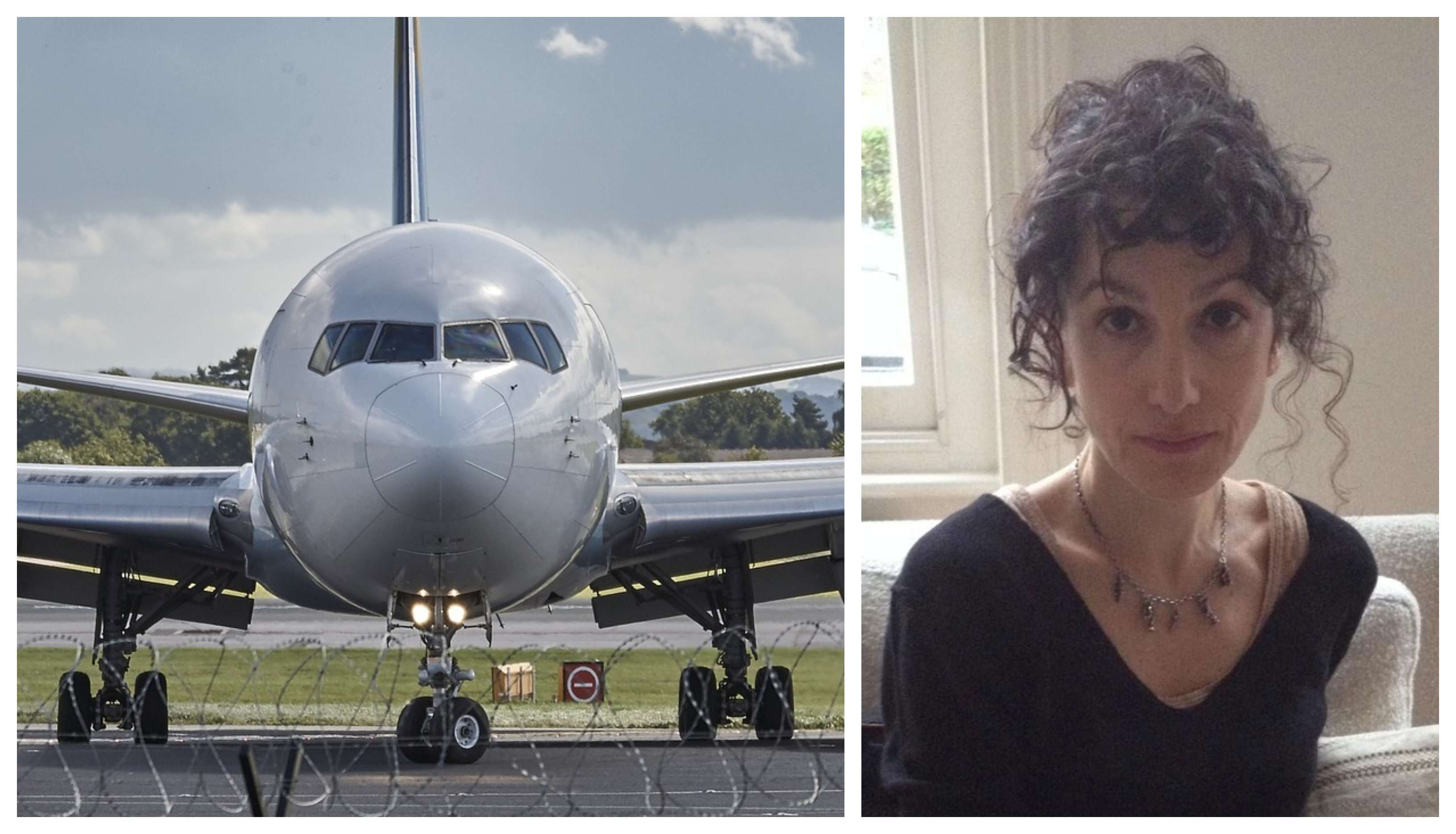 Vegan Trilby Harrison and a plane