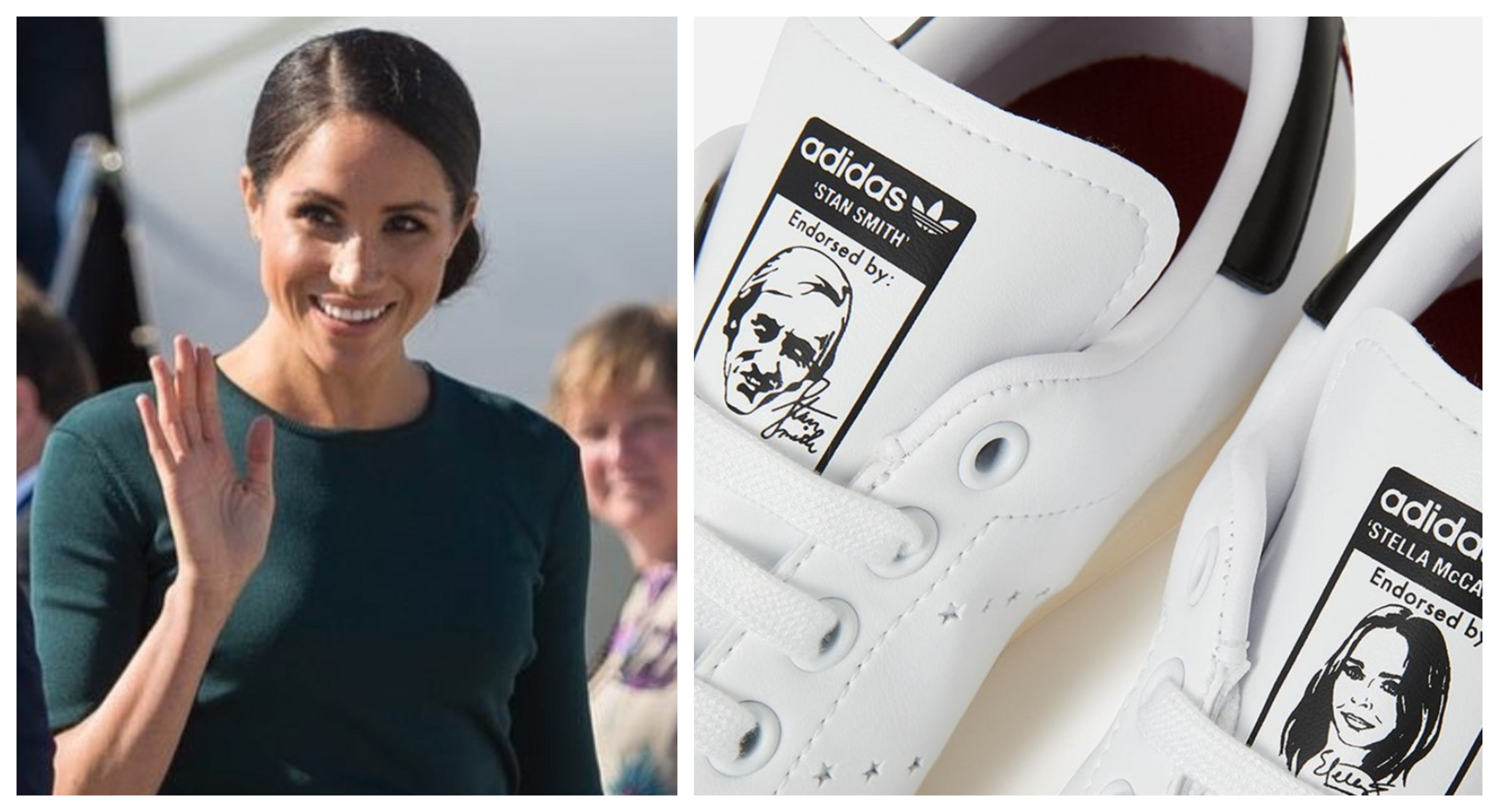 reputable site 136d7 f9e09 Pregnant Meghan Markle Shows Off Vegan Stan Smith Trainers