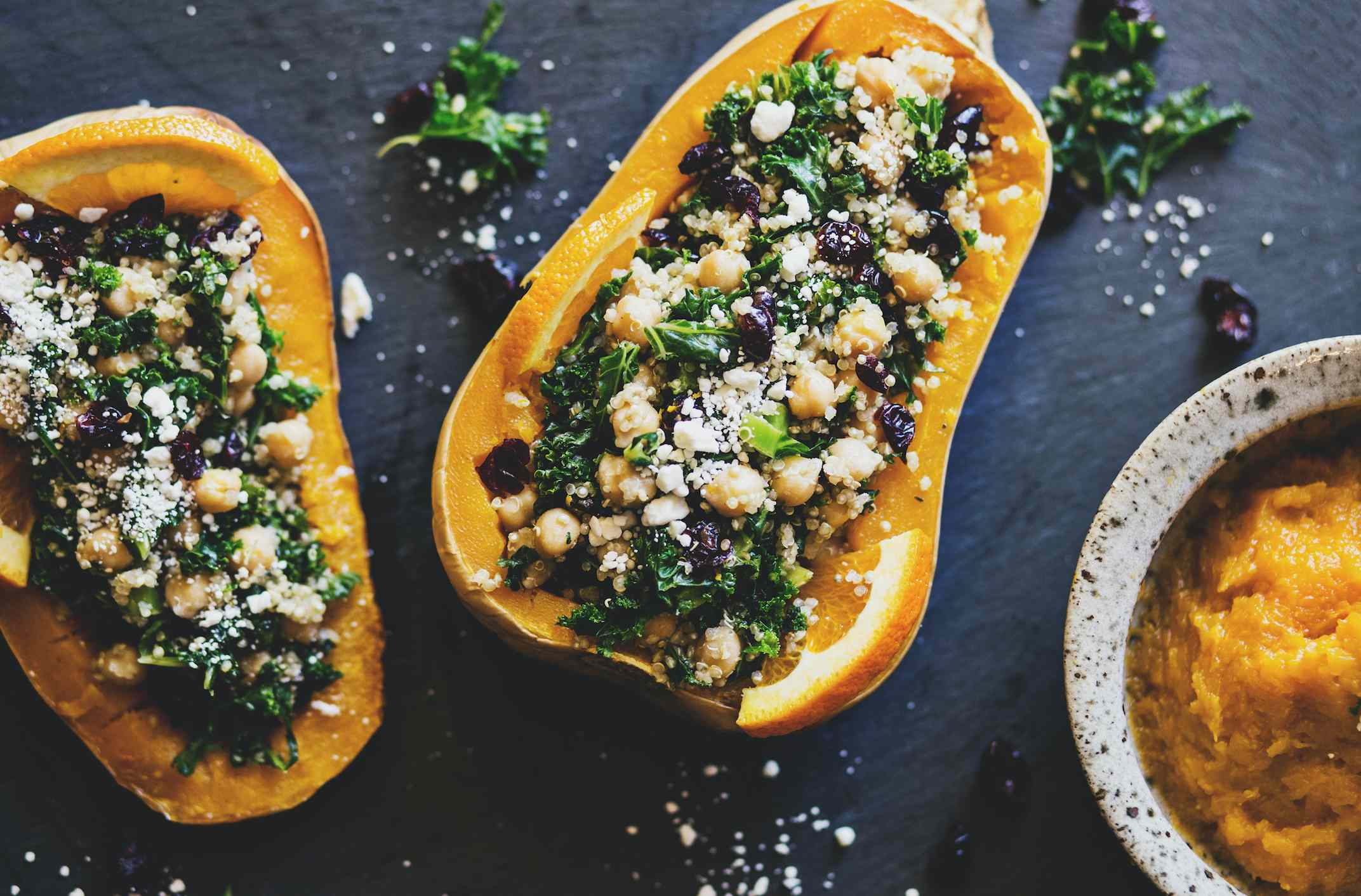 Butternut squash stuffed with kale