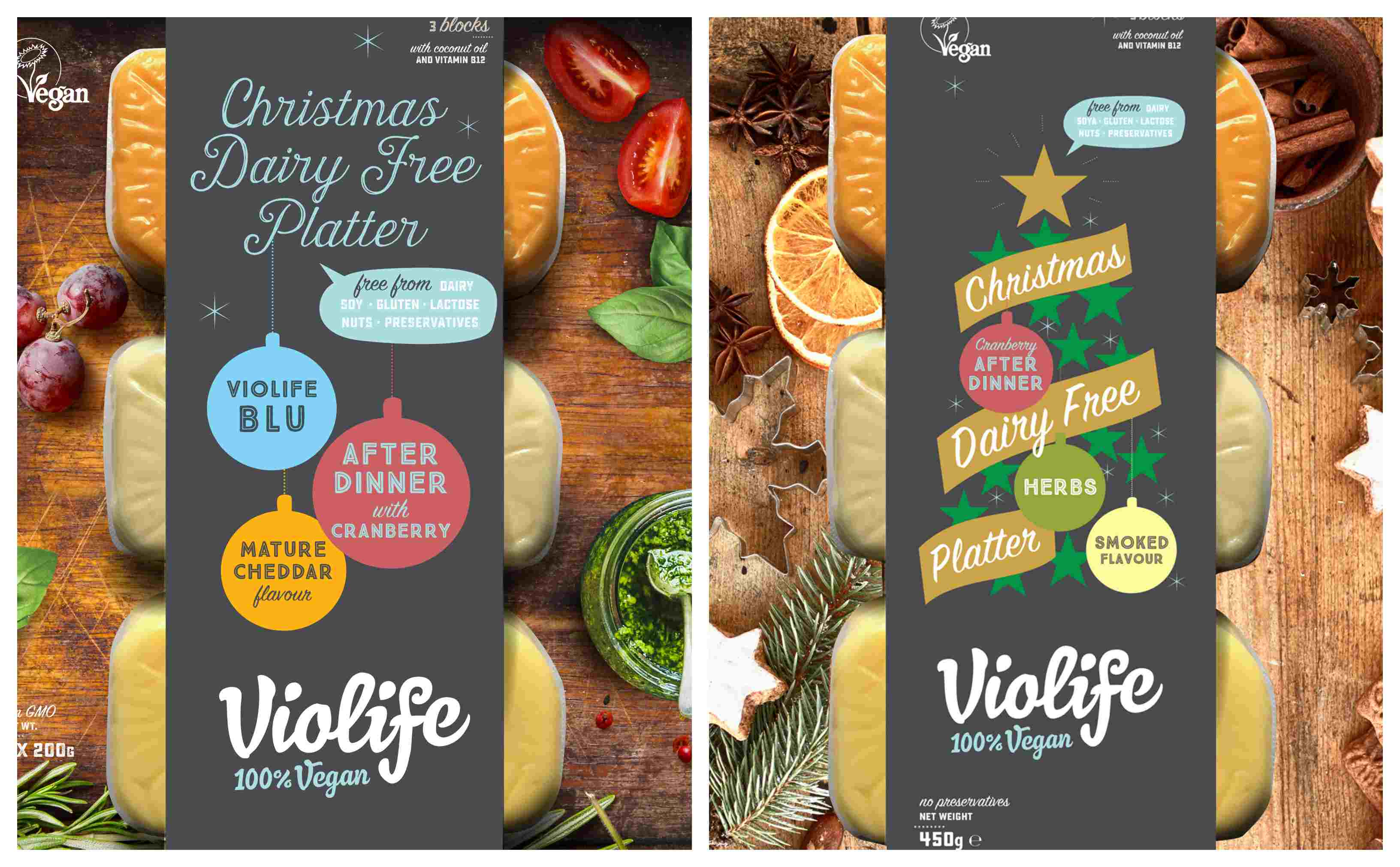 Violife Christmas vegan cheese platters