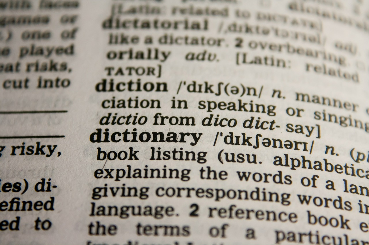 Page of a dictionary