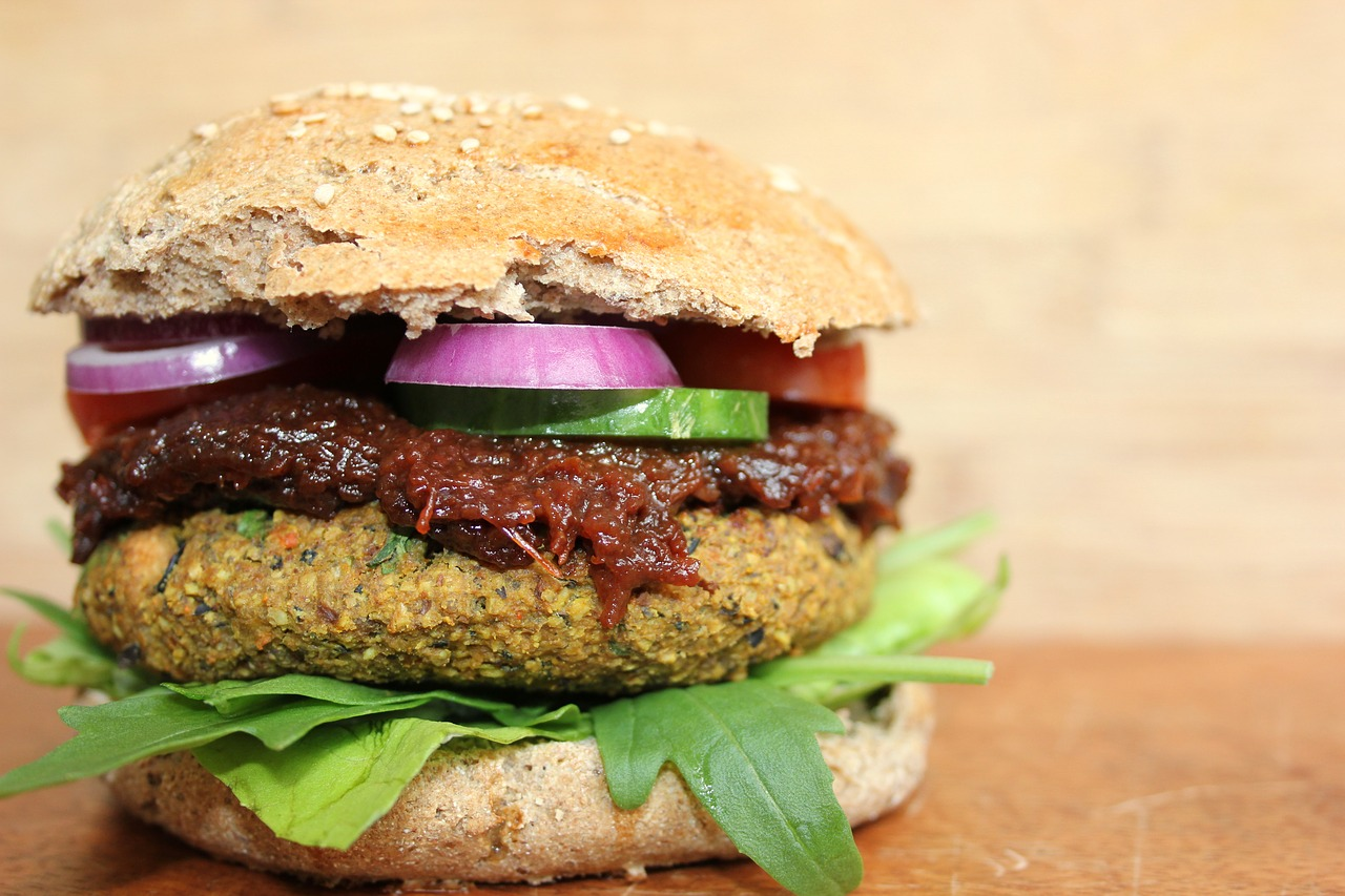 A vegan burger