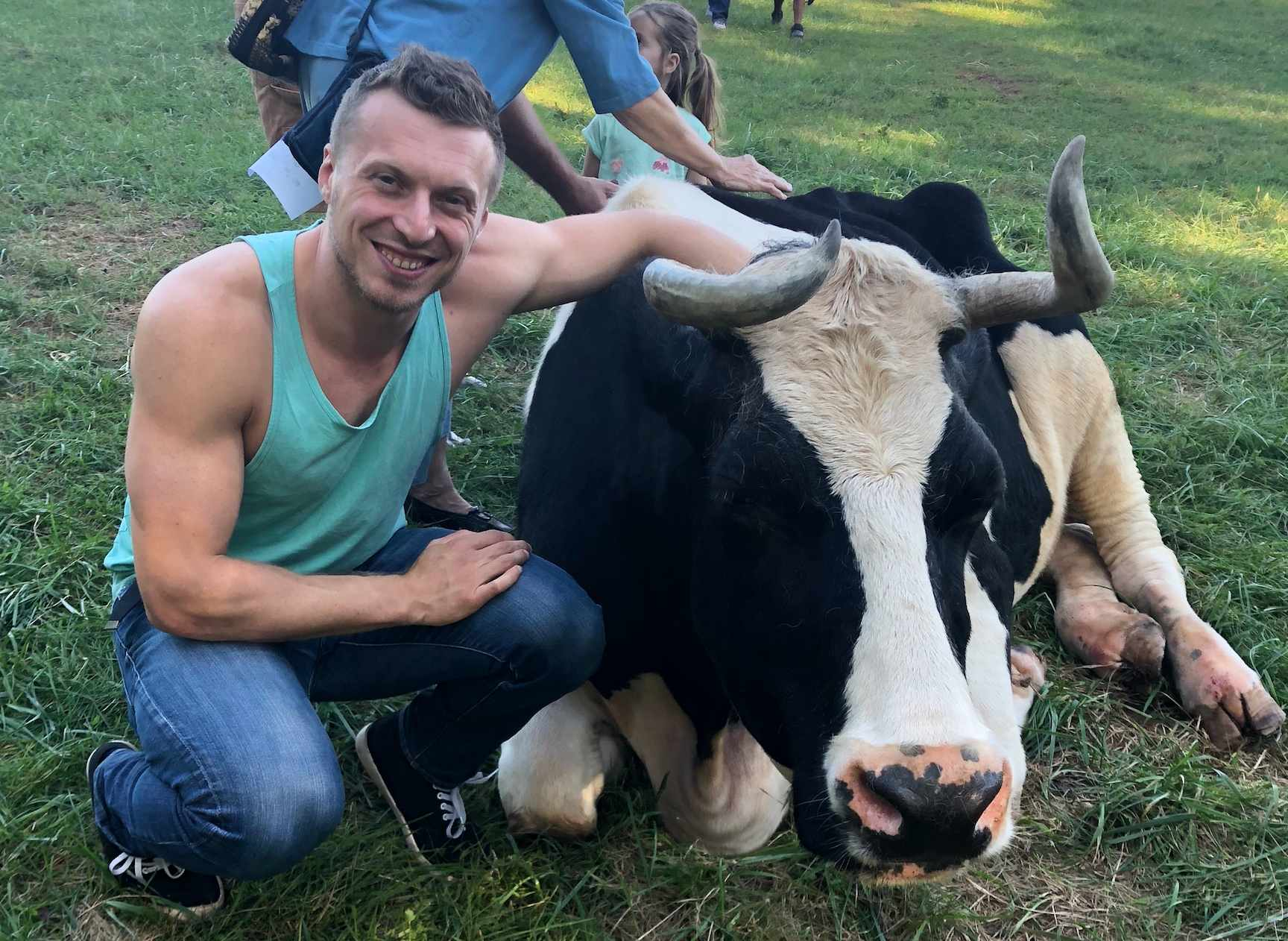 John Oberg with a cow
