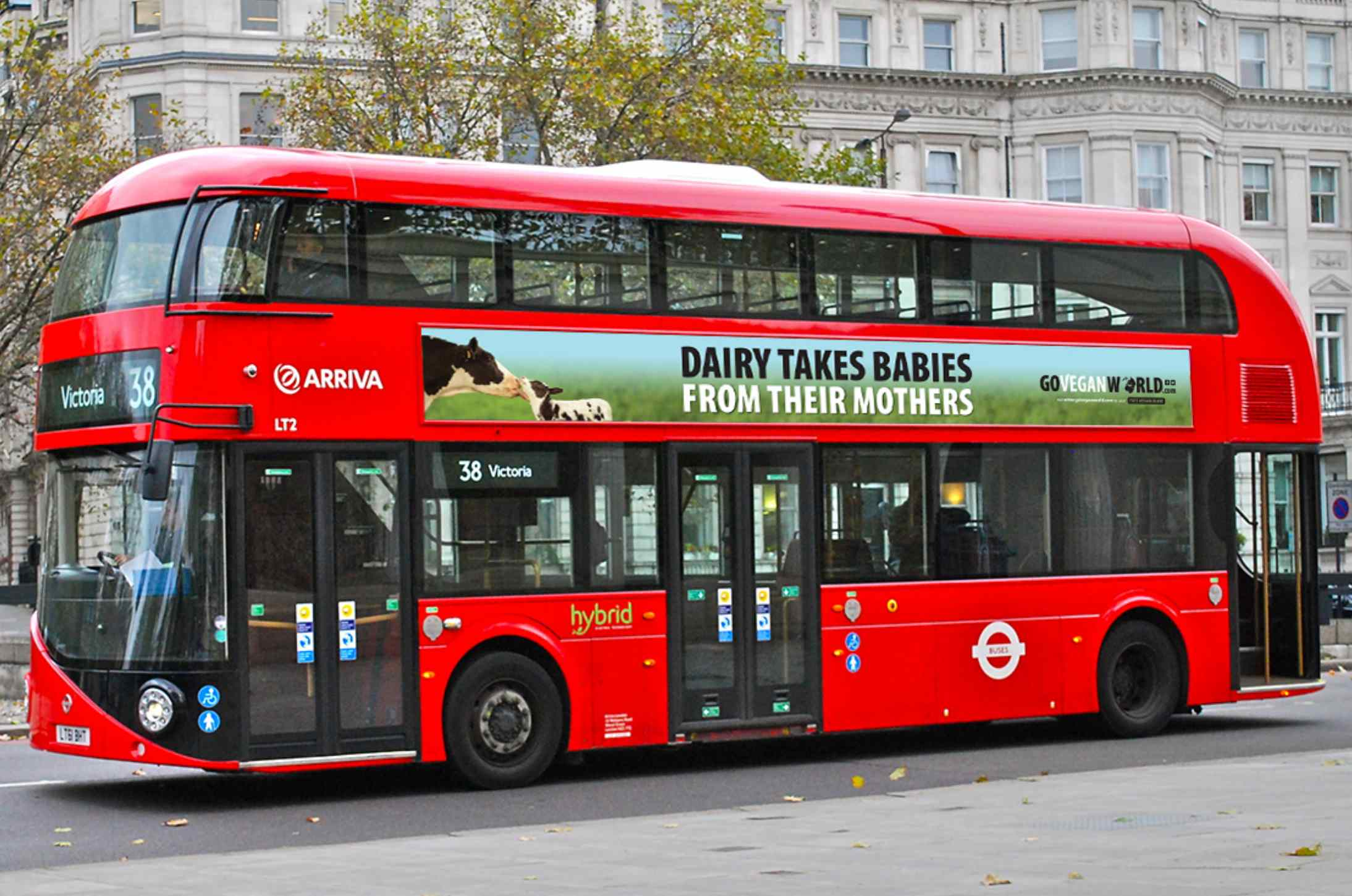 A pro-vegan poster on a London bus