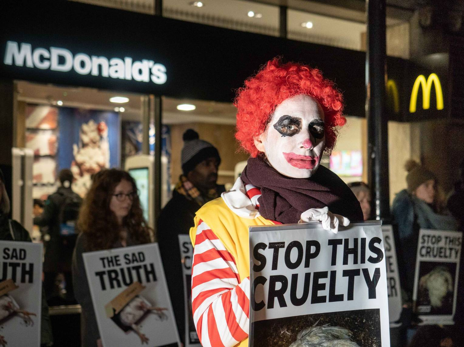 Campaigners protest against McDonald's animal welfare standards