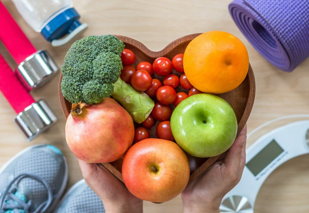 Vegetables in a heart shaped bowl