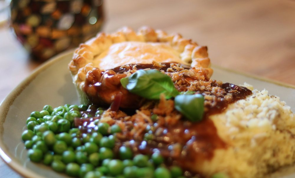 Vegan pie and mash