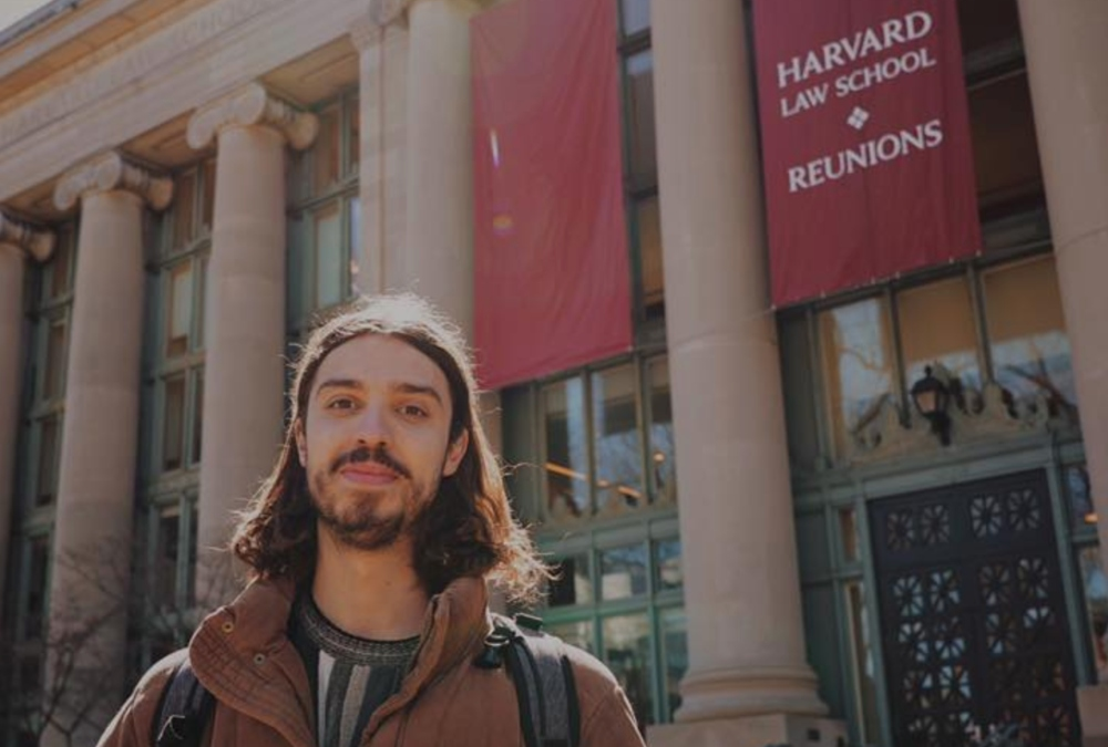 Vegan activist Earthling Ed outside Harvard University