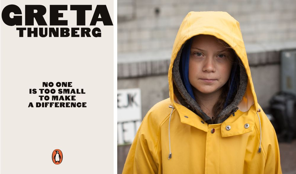 Greta Thunberg and a book of her speeches