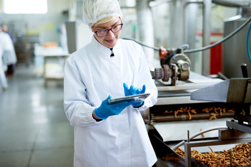 Woman in food factory