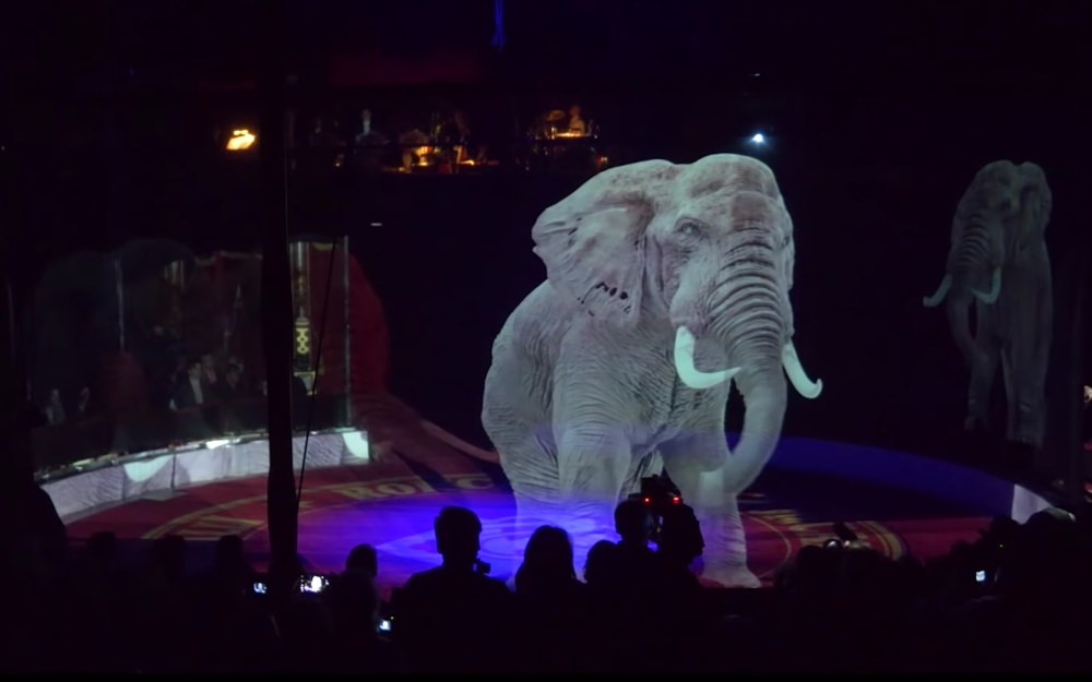 Elephant hologram at the Circus Roncalli
