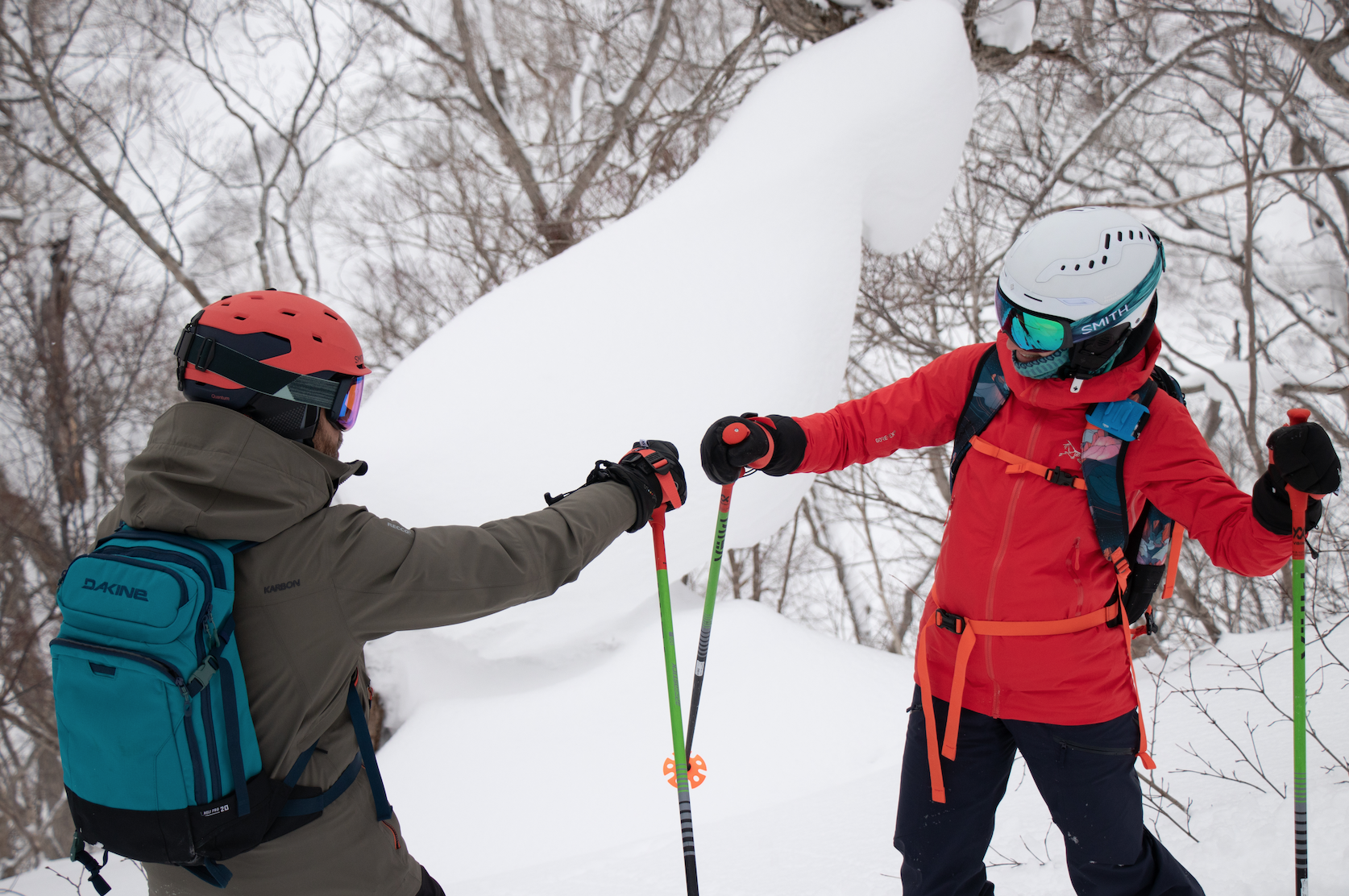 fist punch in japan while skiing