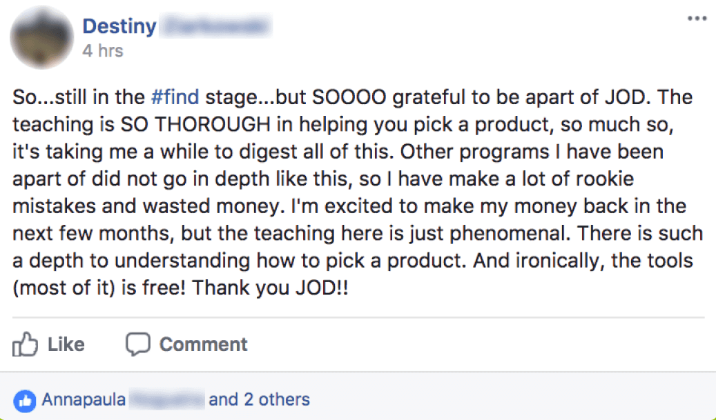 Destiny - the teaching is so thorough in helping you pick a product