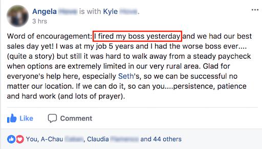 Angela saying she fired her boss