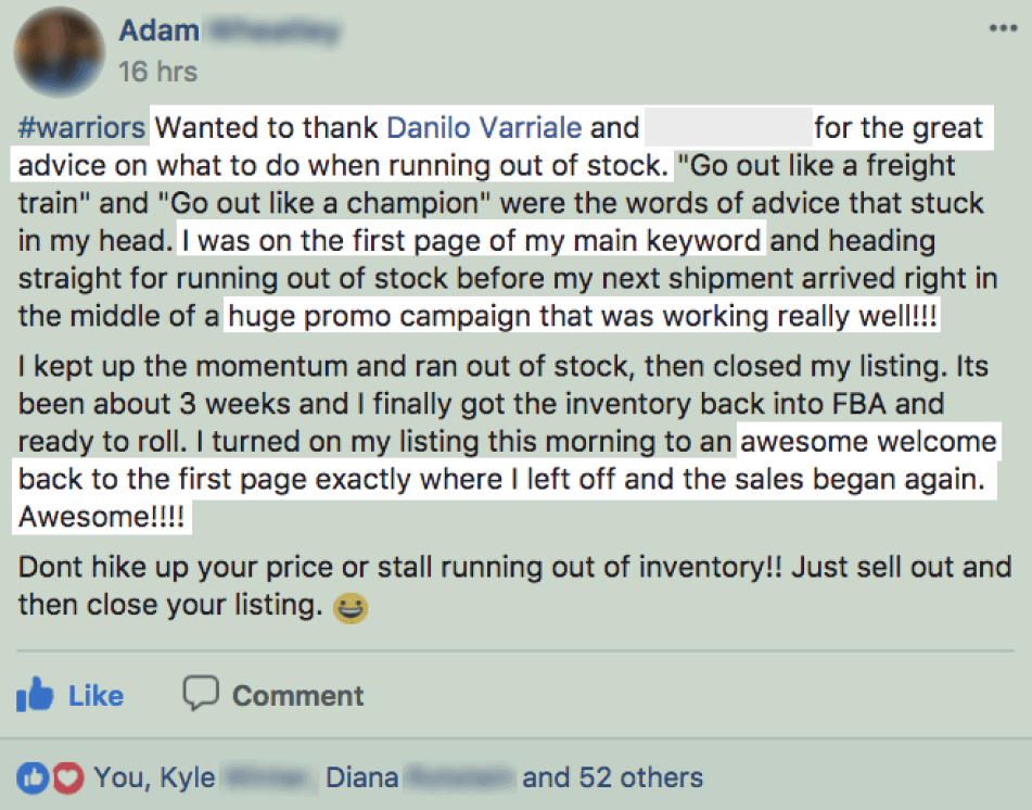 Adam gets his listing back to the first page